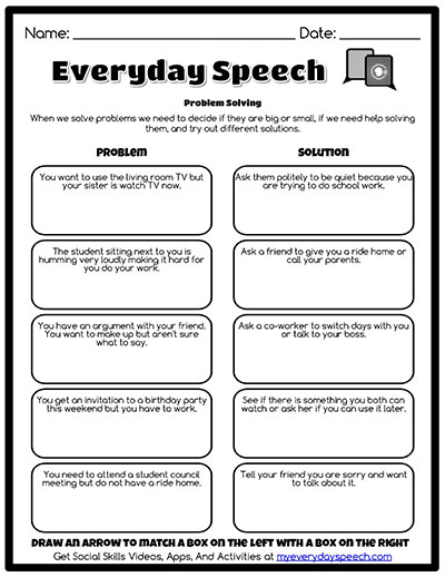 Speech Therapy Worksheet Creator | Everyday Speech - Everyday Speech