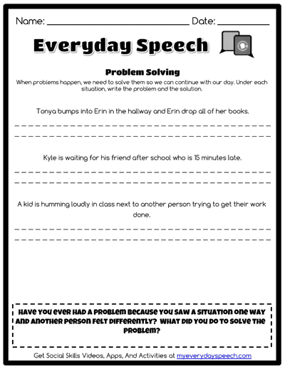 Speech Therapy Worksheet Creator Everyday Speech Everyday Speech