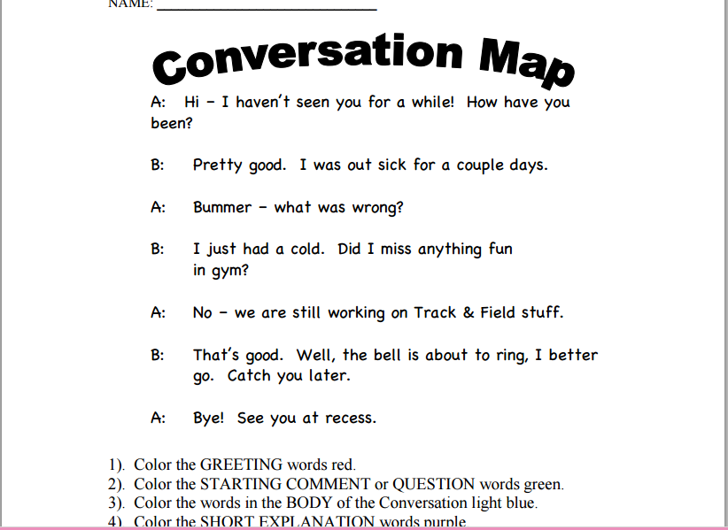 Social Skills Activities Minimum Prep Maximum Fun Everyday. Conversation Map By Jill Kuzma. Worksheet. Worksheets For Children With Autism At Clickcart.co
