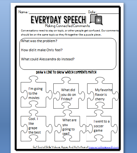 Printables Social Skill Worksheets using our social skills video lessons plus new worksheets making connected comments worksheet