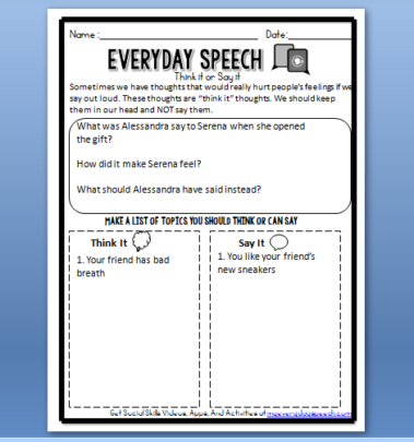 Our Think It or Say It worksheet