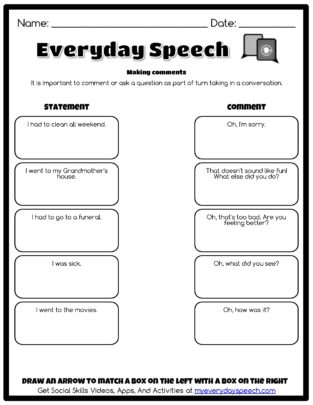 Making Comments Matching Worksheet