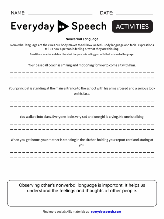 Worksheets   Everyday Speech - Everyday Speech