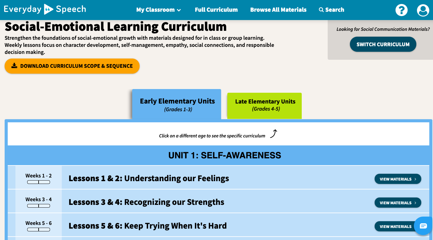 SEL Curriculum Screenshot