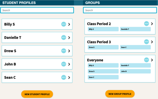 Add student names to the platform to share materials and track work progress. Add them to groups for easy management.