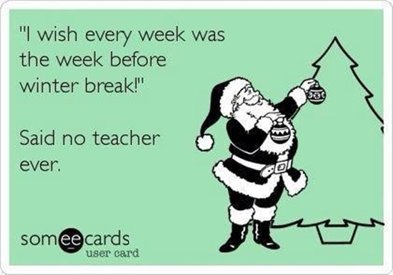 Meme from TeachJunkie related to keeping your chill during the holidays.