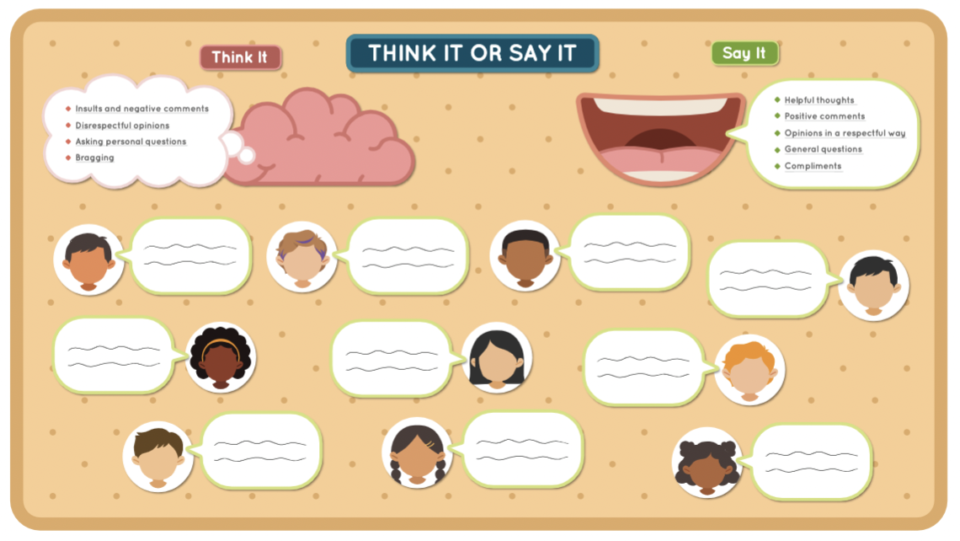 think it or say it bulletin board image