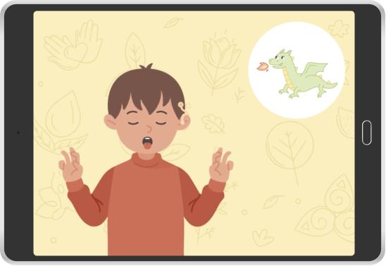 animated boy dragon breathing