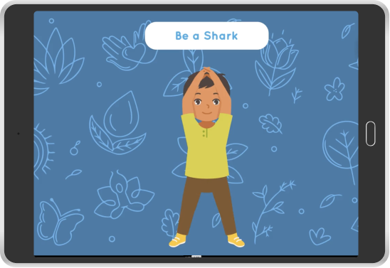 animated boy pretending to be a shark