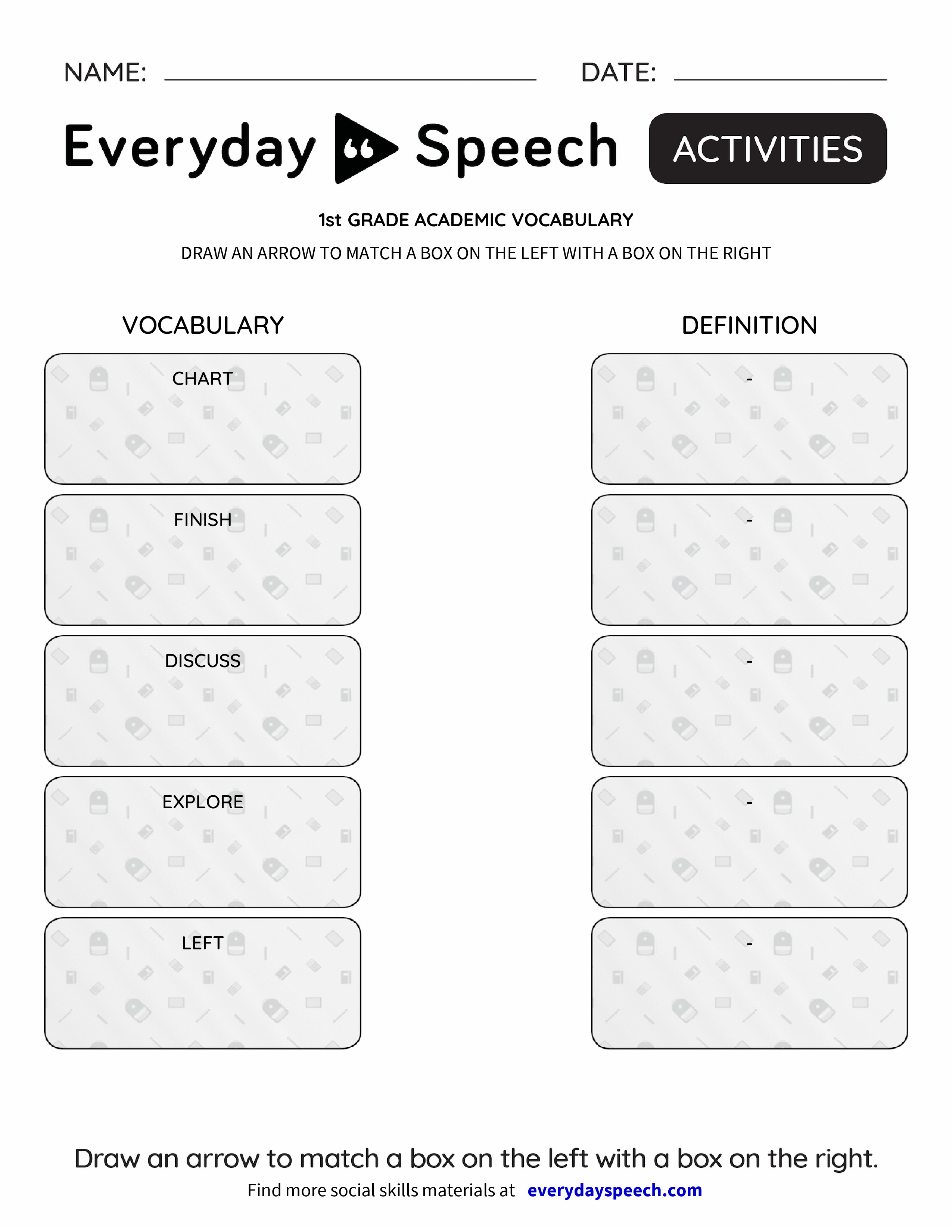 Vocabulary Boxes Worksheets : St grade academic vocabulary everyday speech