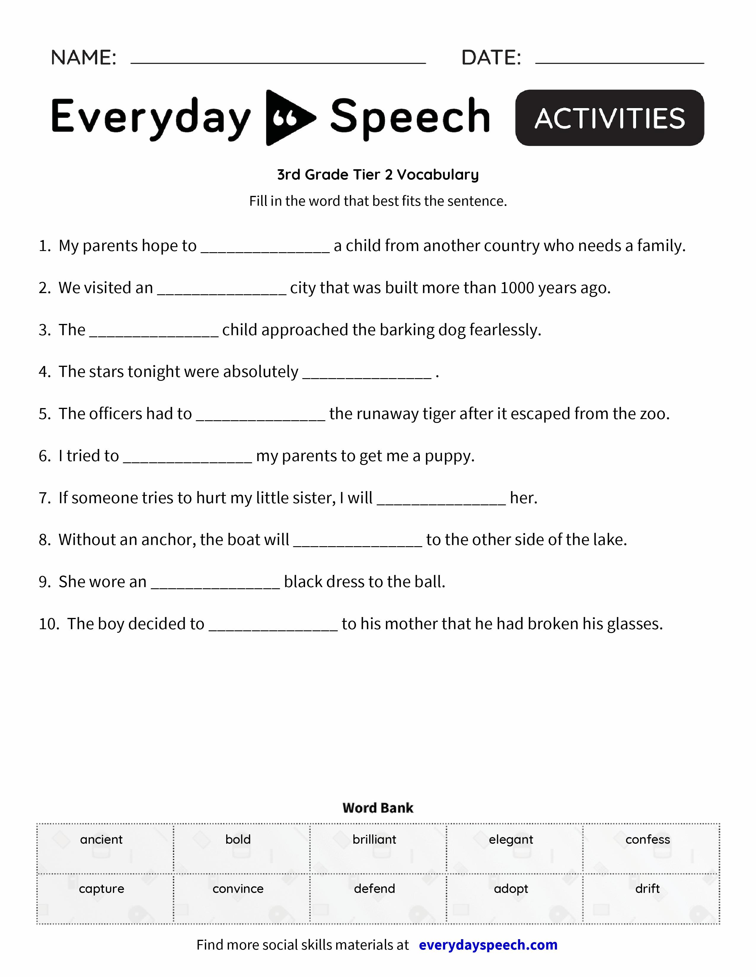 Blank Vocabulary Worksheets : Rd grade tier vocabulary everyday speech