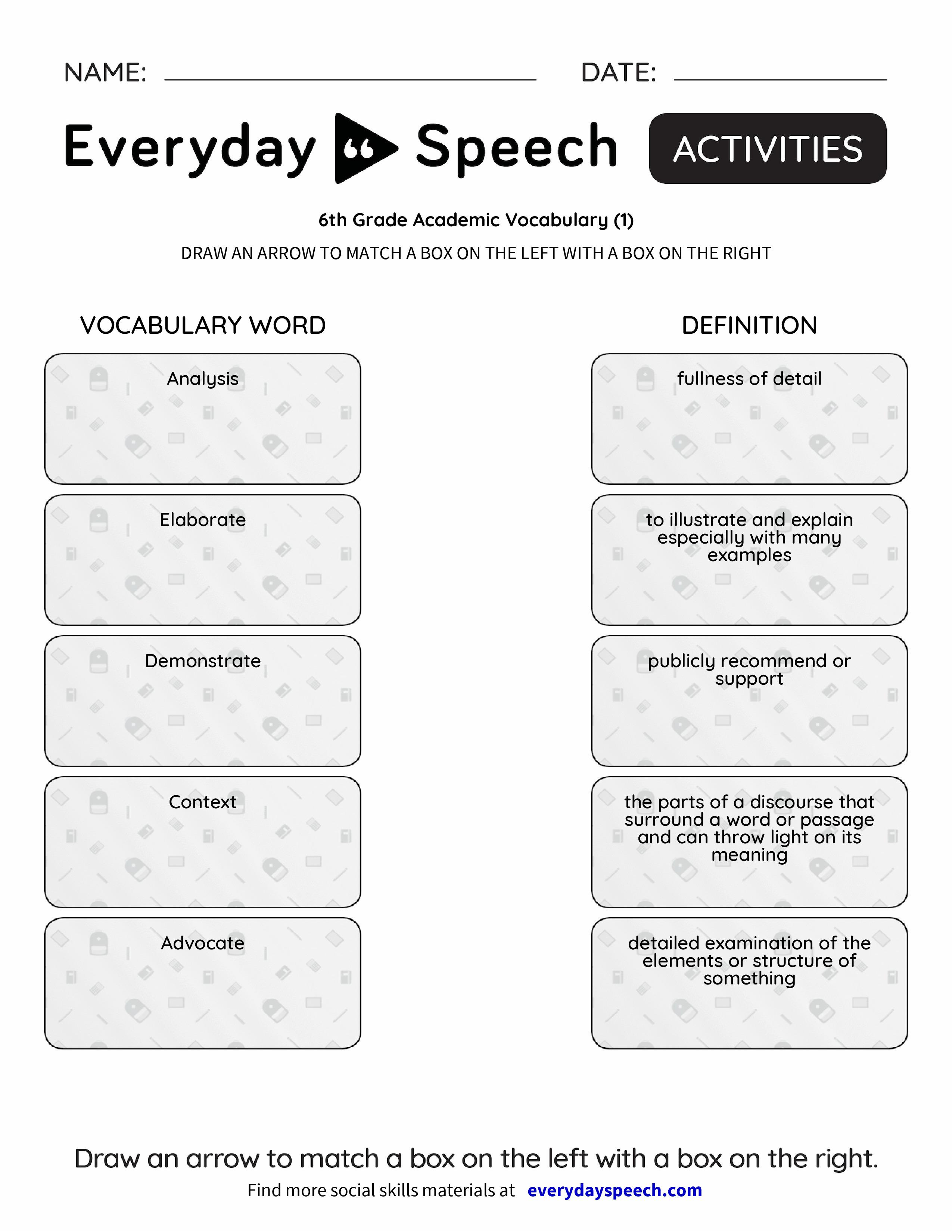 6th Grade Academic Vocabulary 1 Everyday Speech Everyday Speech