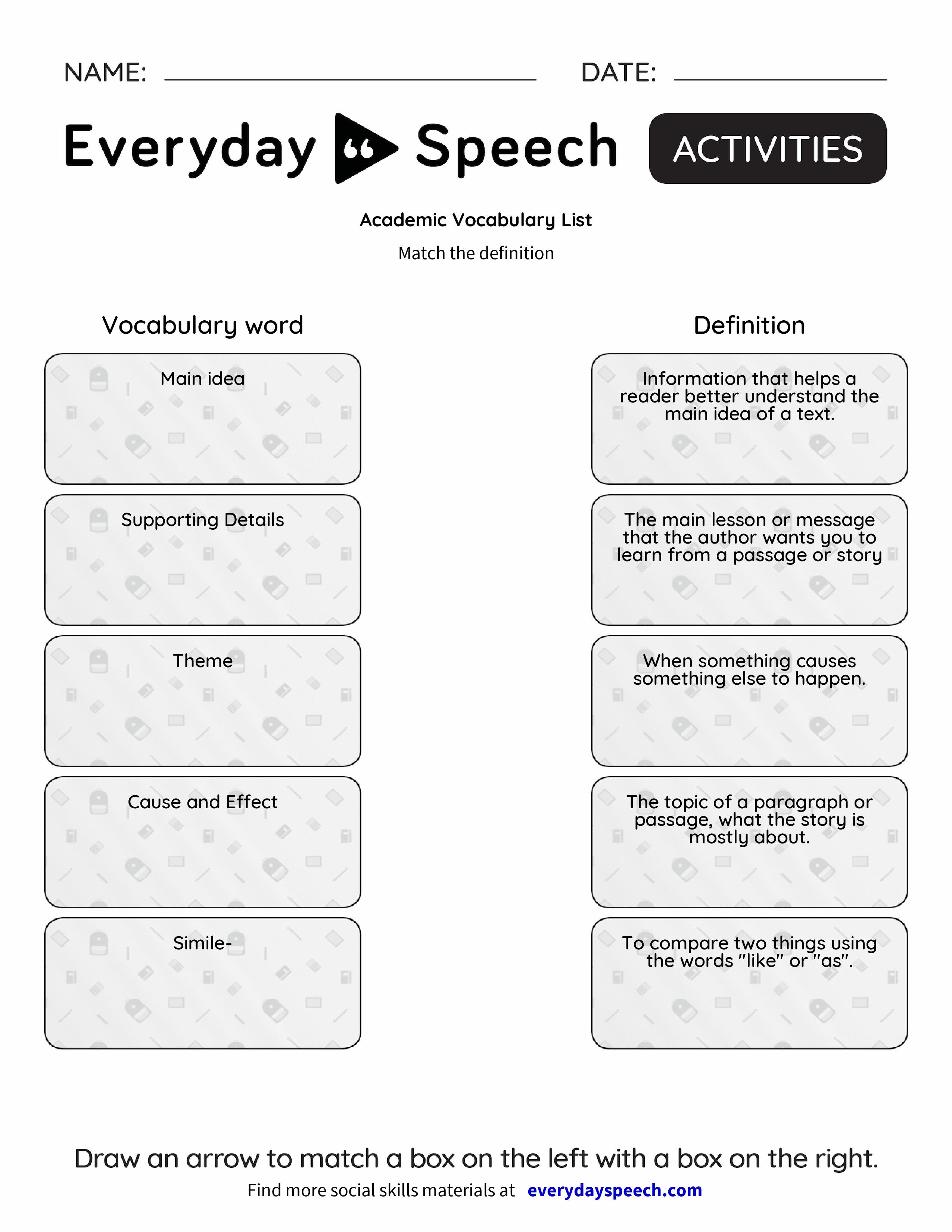worksheet Academic Vocabulary Worksheets joindesignseattle – Academic Vocabulary Worksheets