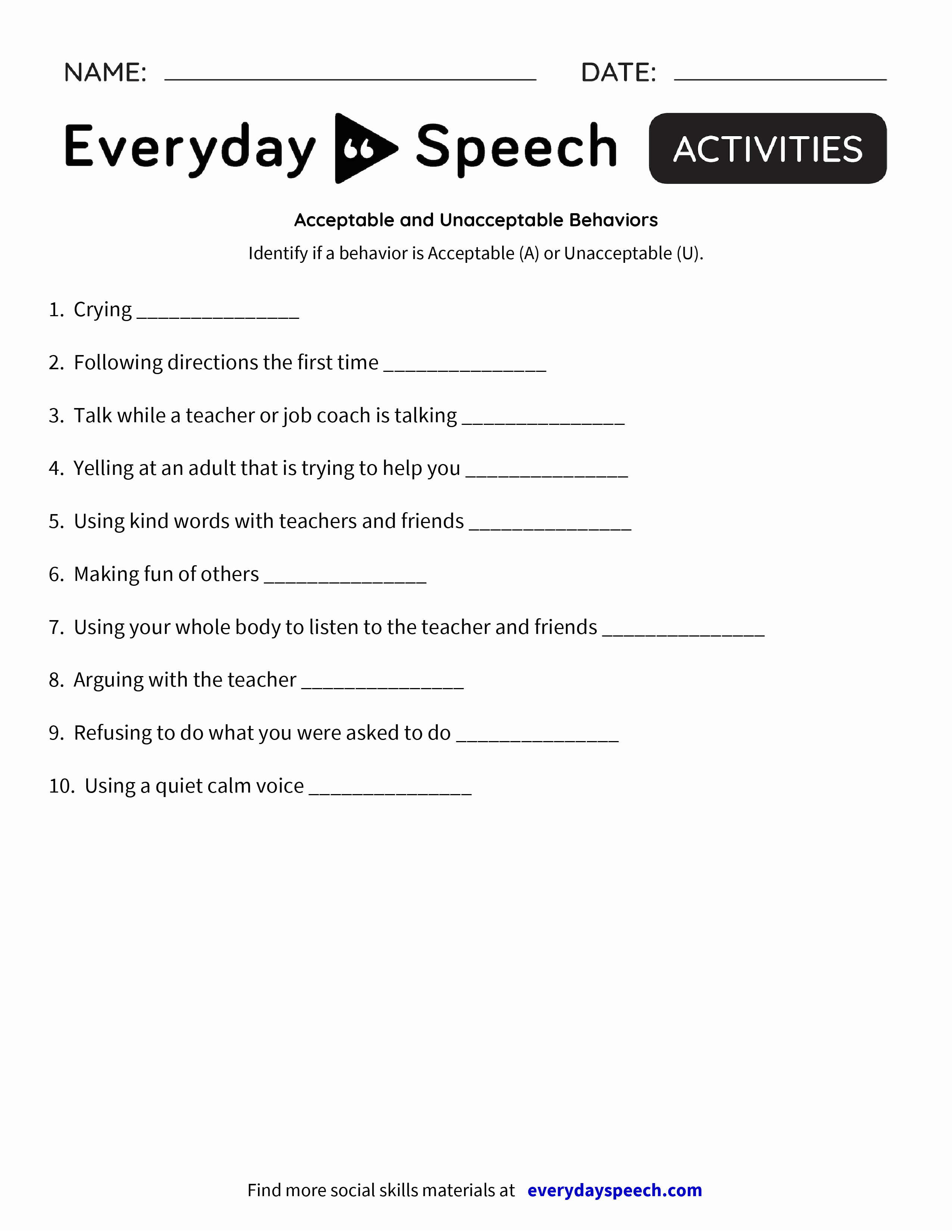 Worksheets Behavior Worksheets acceptable and unacceptable behaviors everyday speech preview