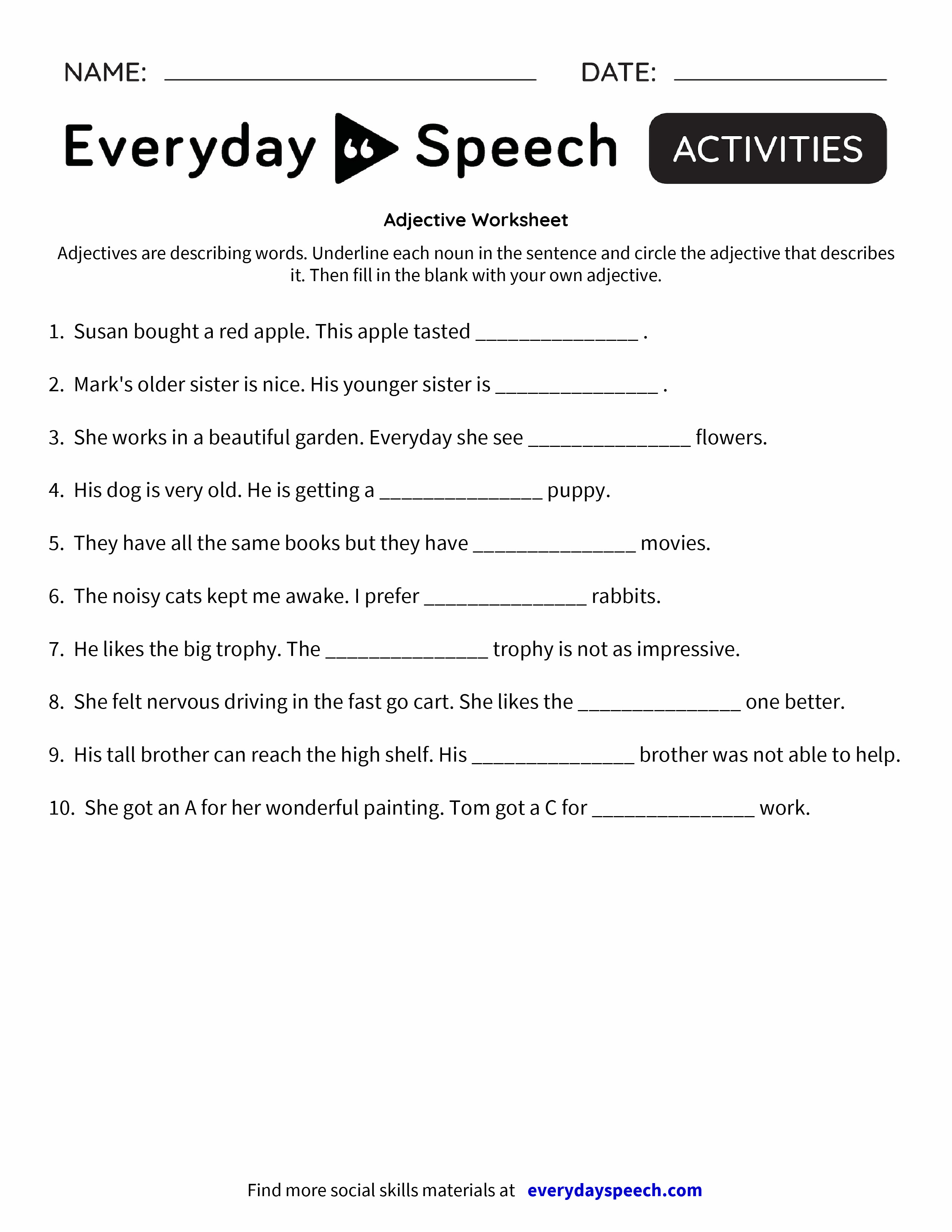 Adjective Worksheet | Proper nouns, Free printable worksheets and ...