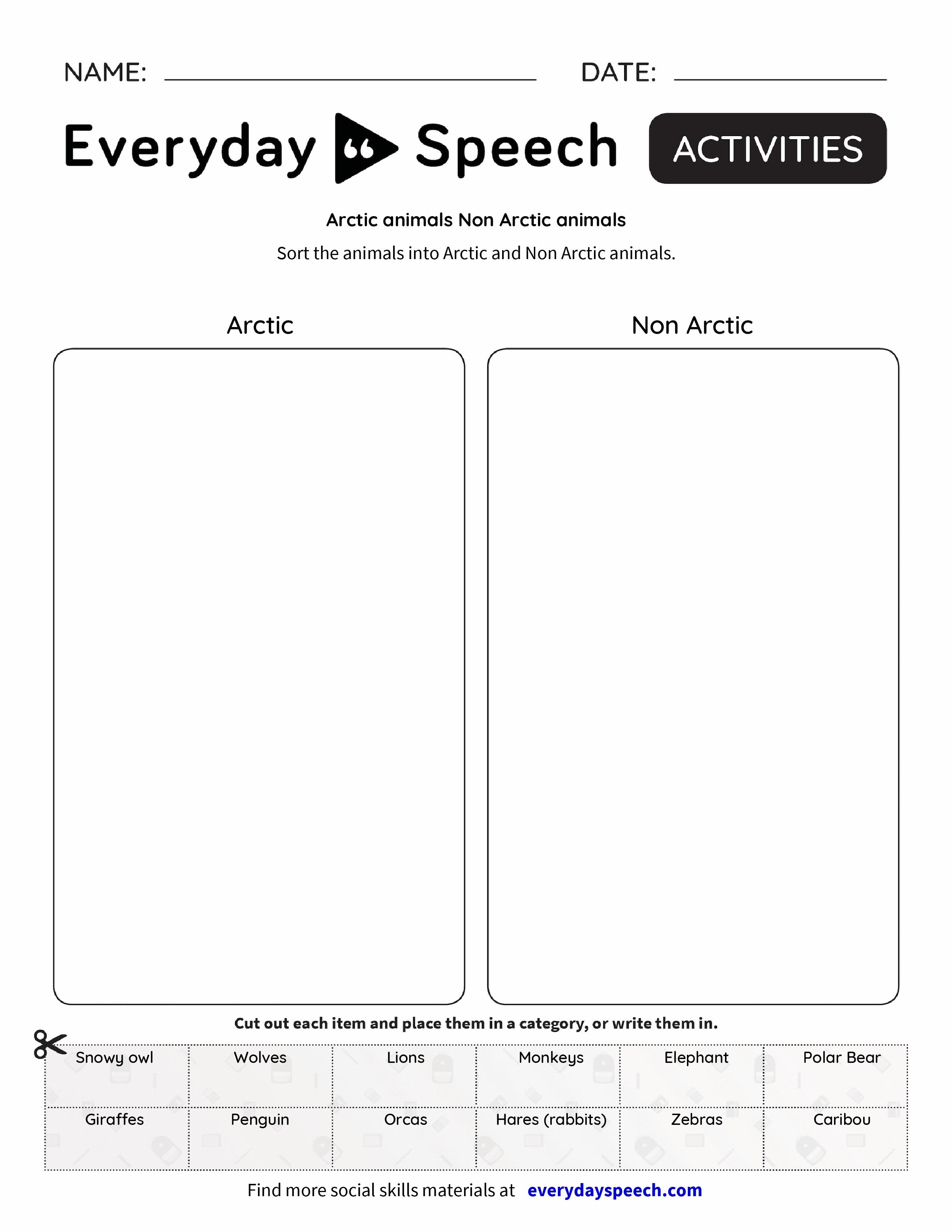 Arctic animals Non Arctic animals - Everyday Speech - Everyday Speech