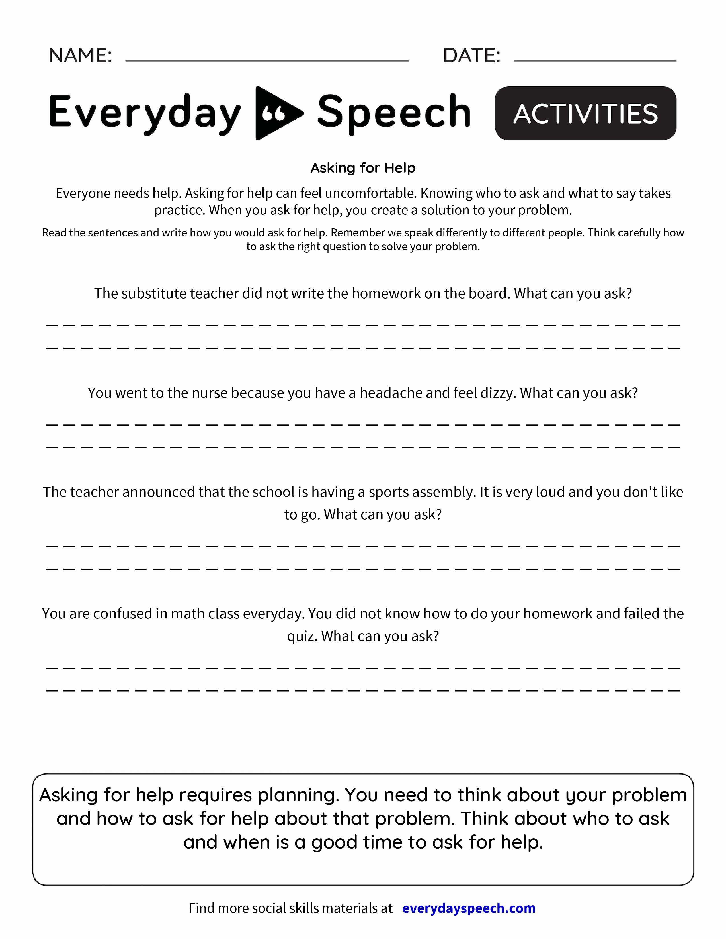 Asking for Help Everyday Speech Everyday Speech – Substitute Teacher Worksheets