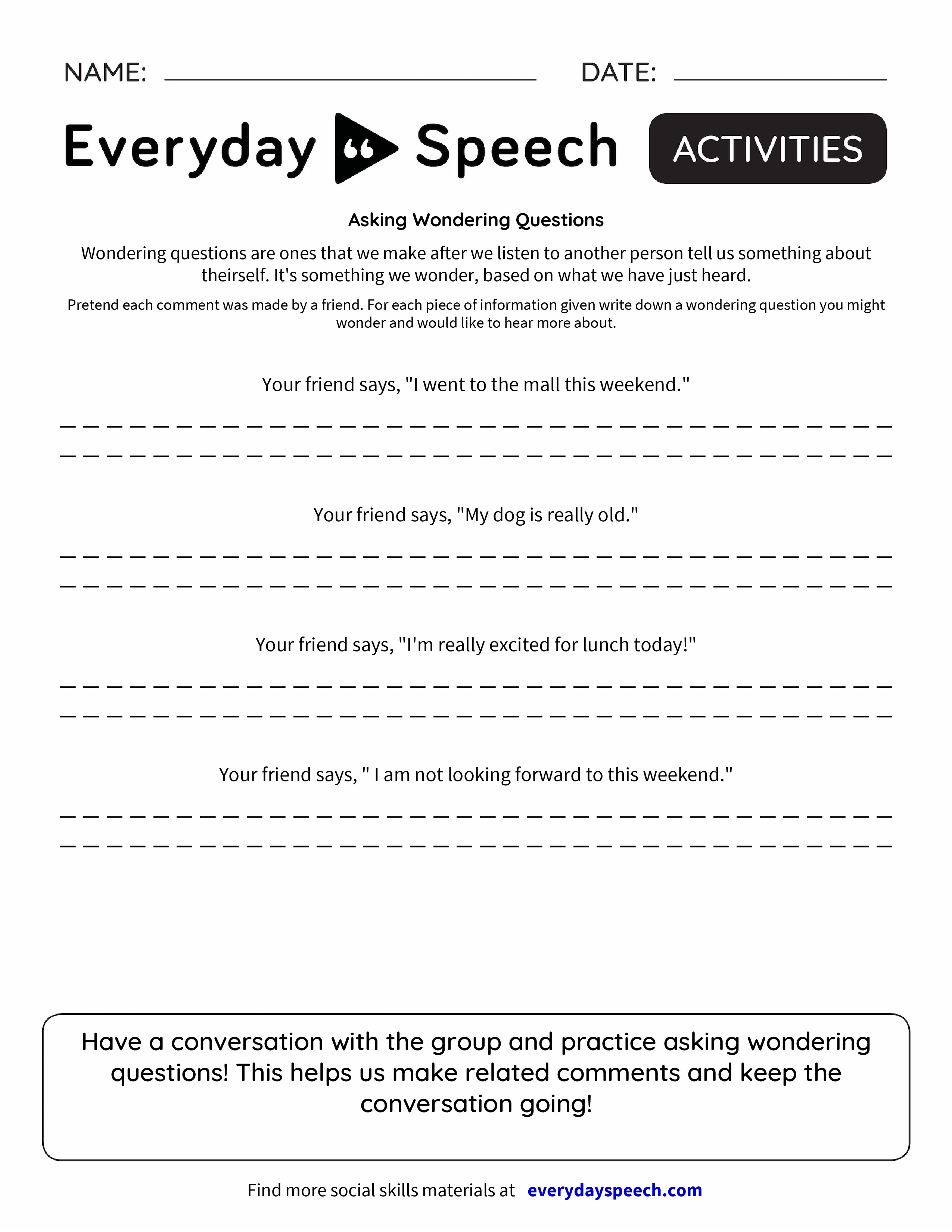 Worksheets For Wonder : Asking wondering questions everyday speech