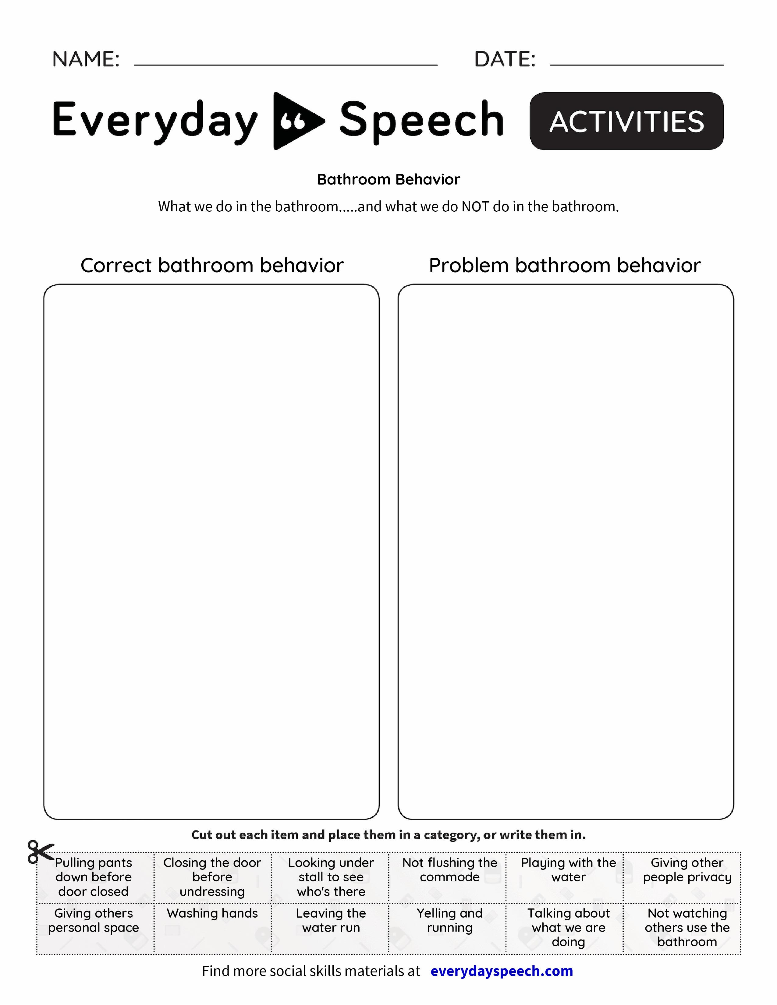 Bathroom Behavior Everyday Speech Everyday Speech – Behavior Worksheets