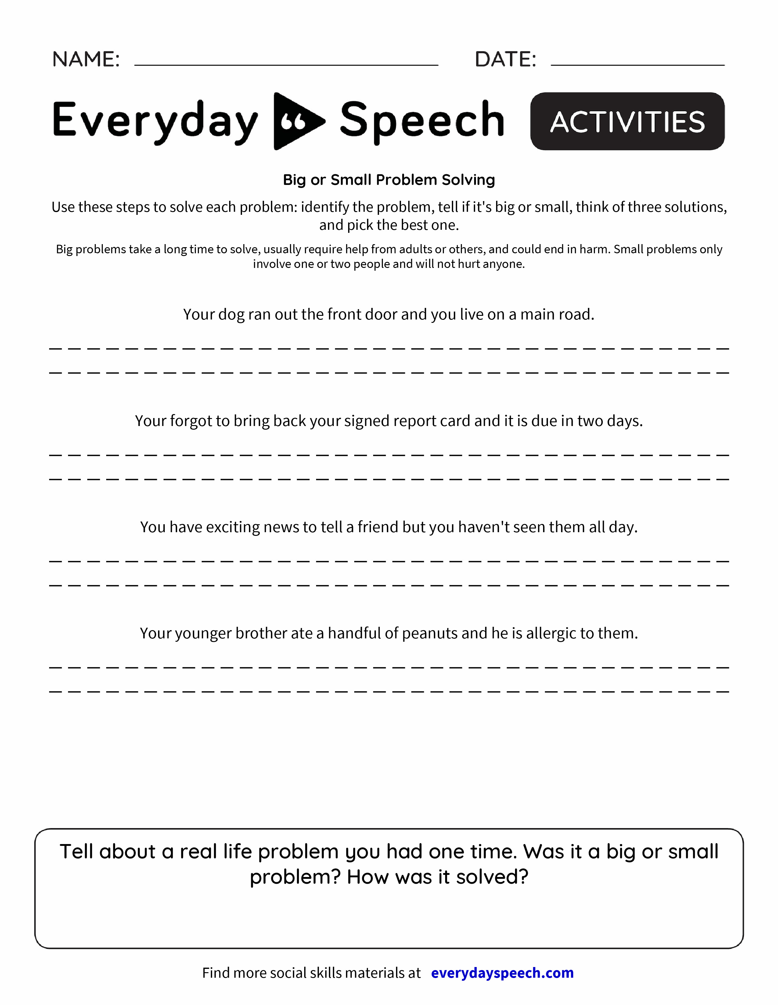 Worksheets Social Problem Solving Worksheets big or small problem solving everyday speech preview