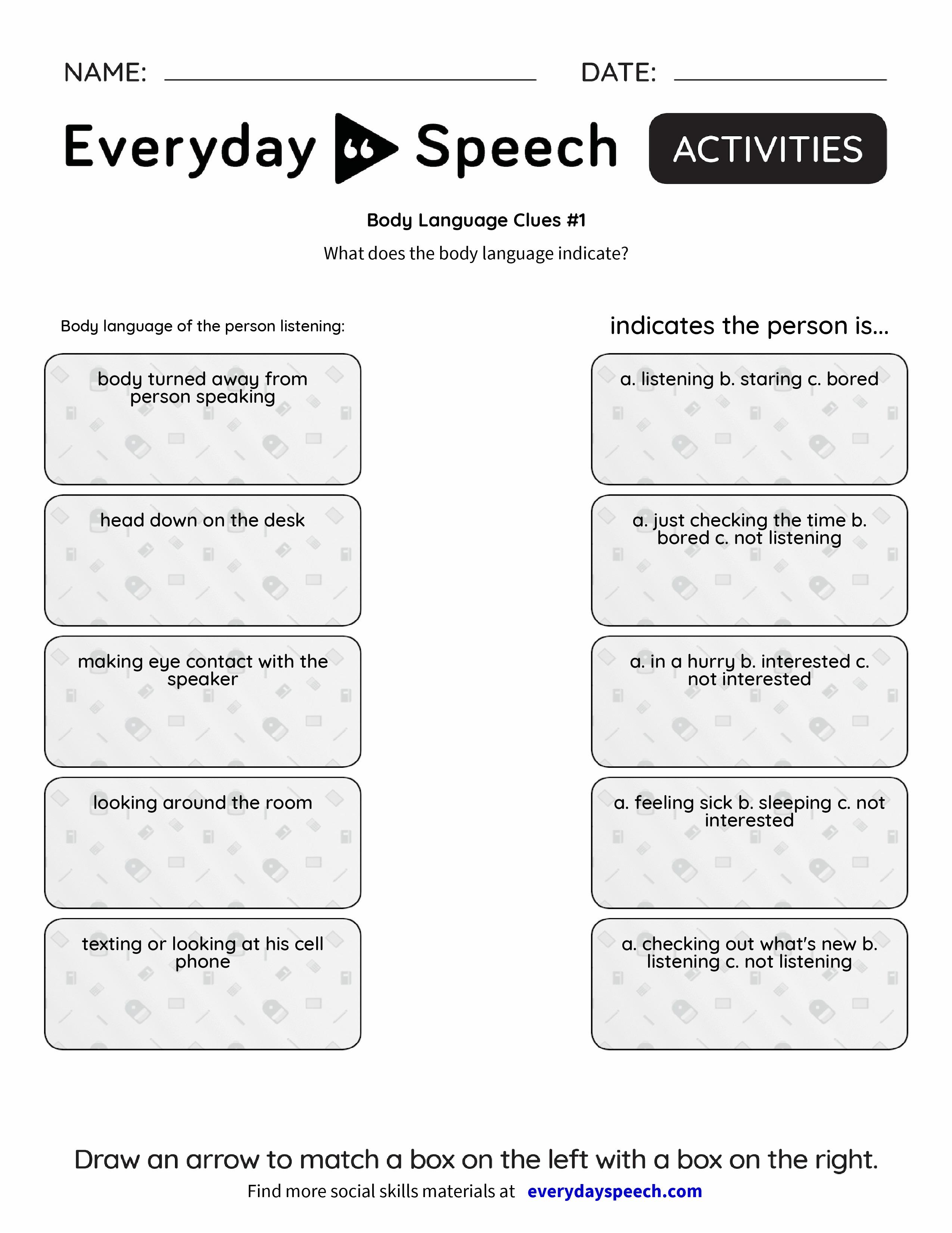 Body Language Clues 1 Everyday Speech Everyday Speech