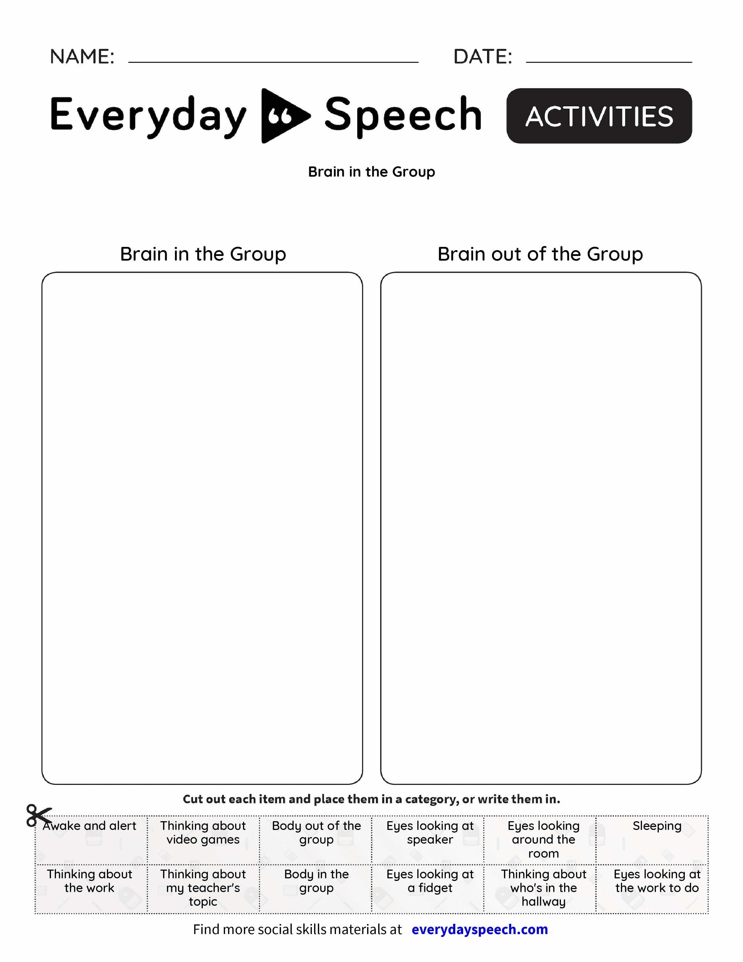 worksheet Brain Games Worksheets brain in the group everyday speech preview