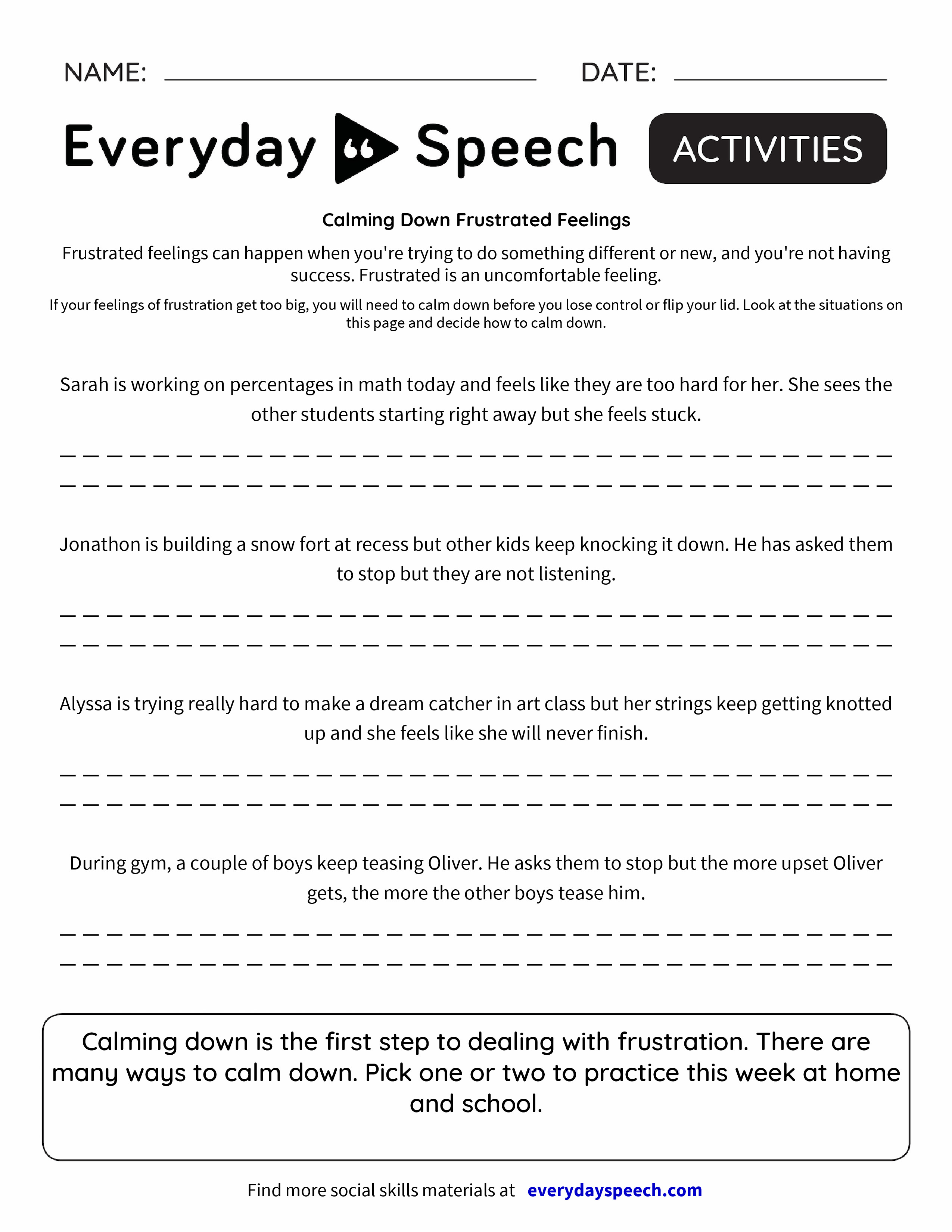 worksheet Your And You Re Worksheet calming down frustrated feelings everyday speech preview