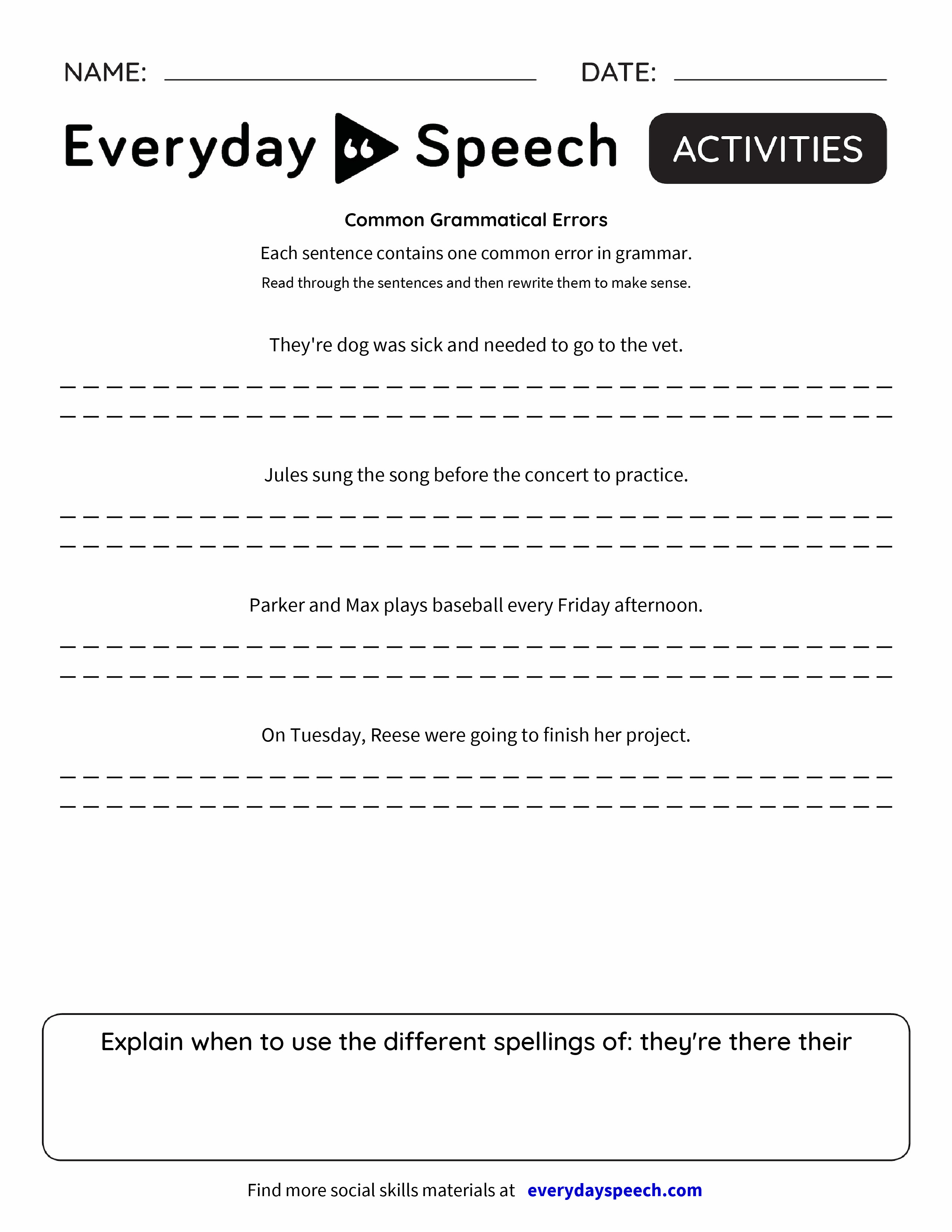 worksheet There Their And They Re Worksheet common grammatical errors everyday speech preview