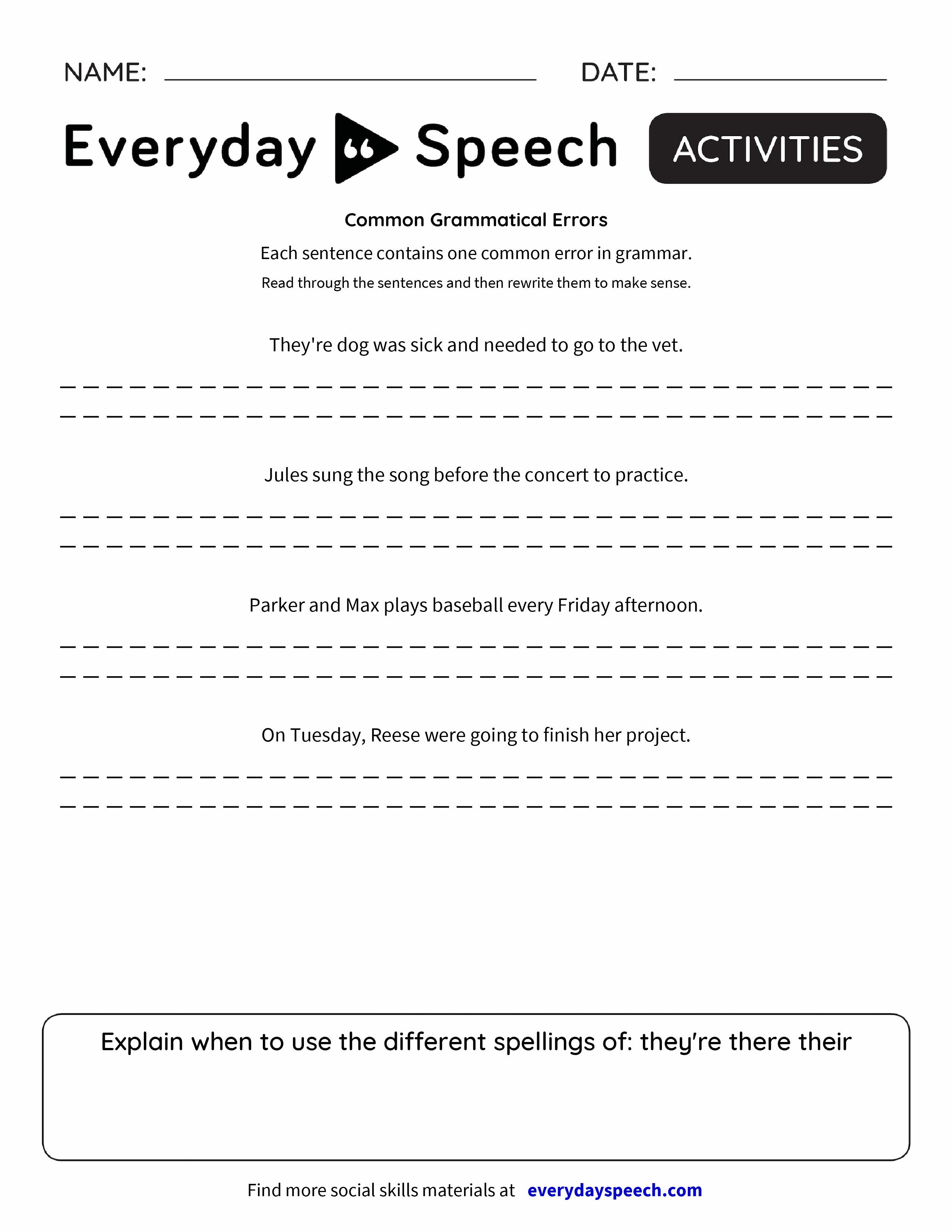 Common Grammatical Errors Everyday Speech Everyday Speech