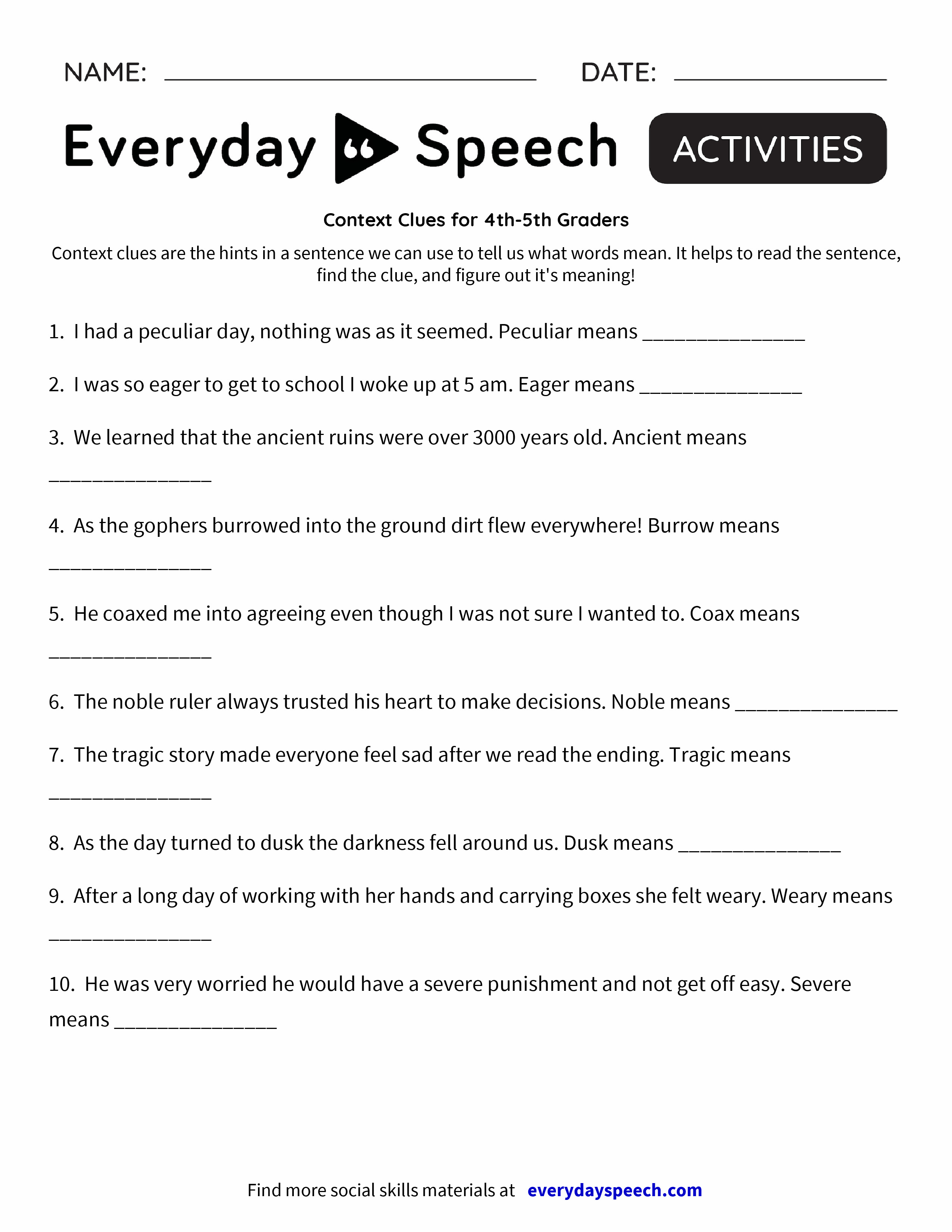 Worksheets  Context Clues for 4th-5th Graders - Everyday Speech - Everyday