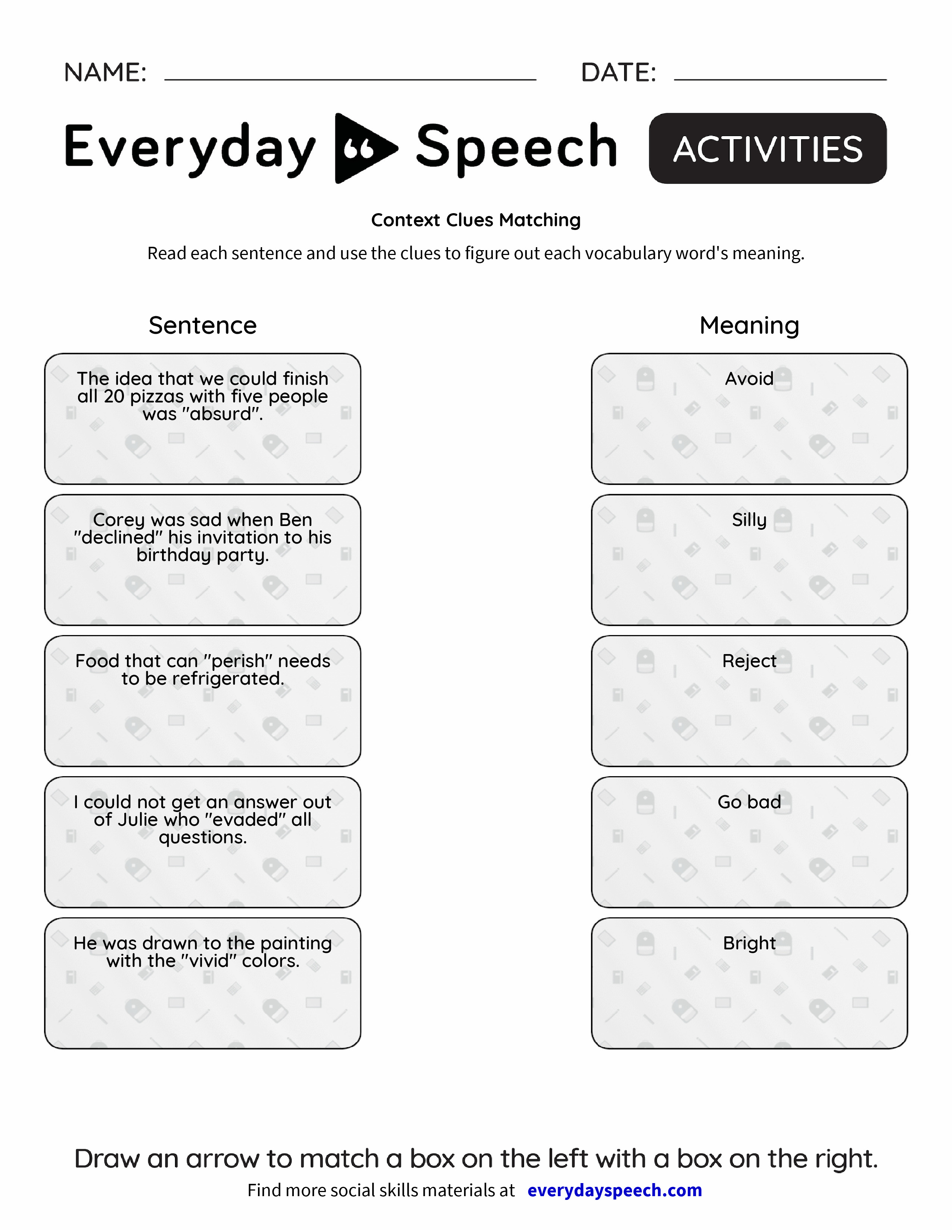 worksheet Vocabulary In Context Worksheet context clues matching everyday speech preview