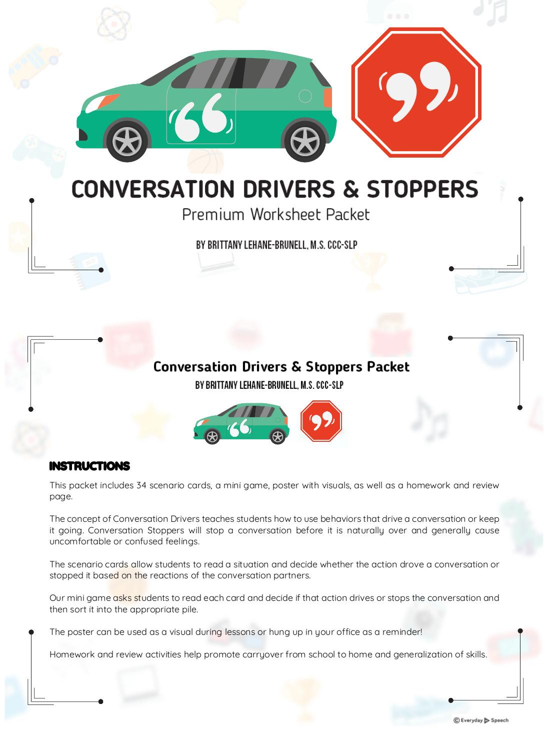 Workbooks speech therapy workbooks : Conversation Drivers & Stoppers Premium Packet - Everyday Speech ...
