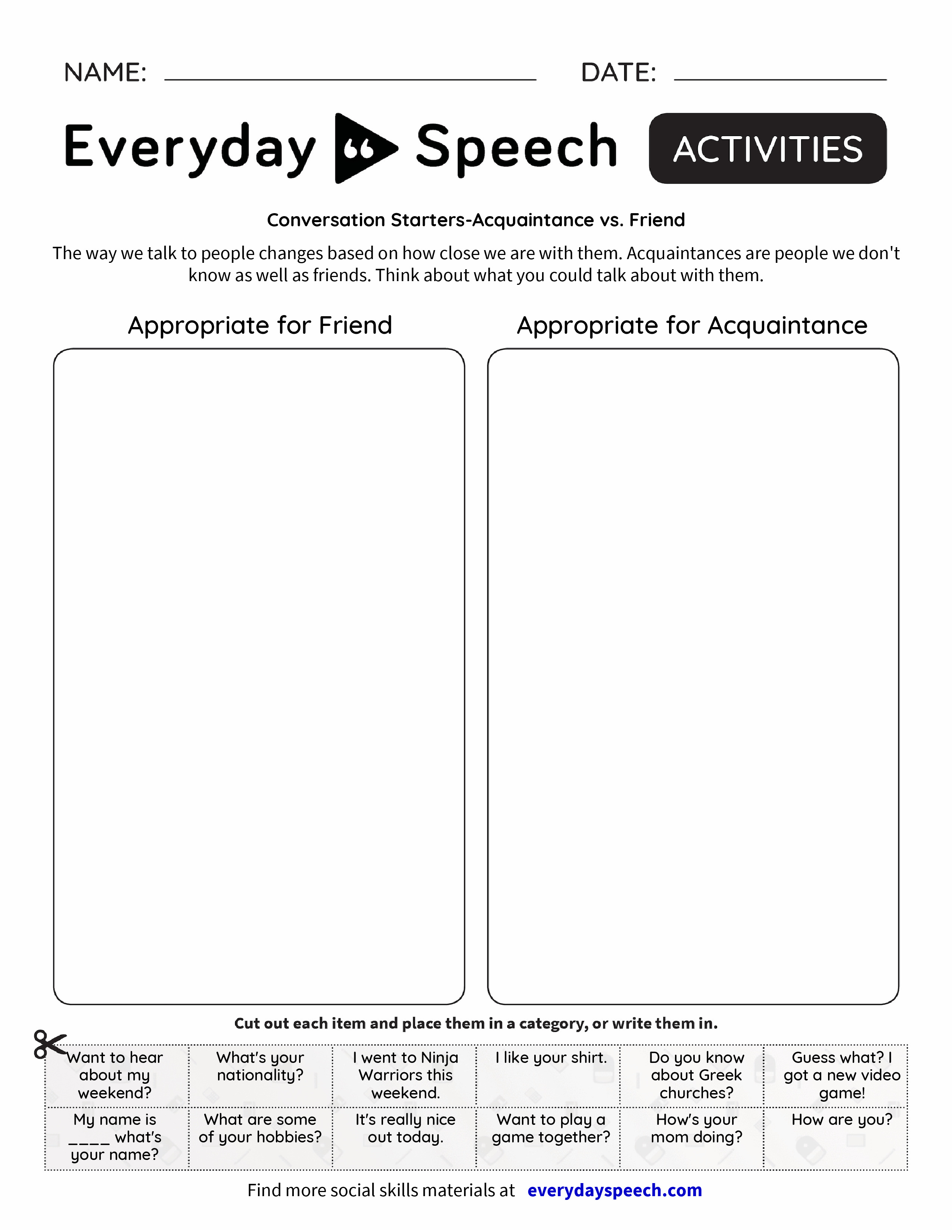 Conversation Starters-Acquaintance vs. Friend - Everyday Speech ...