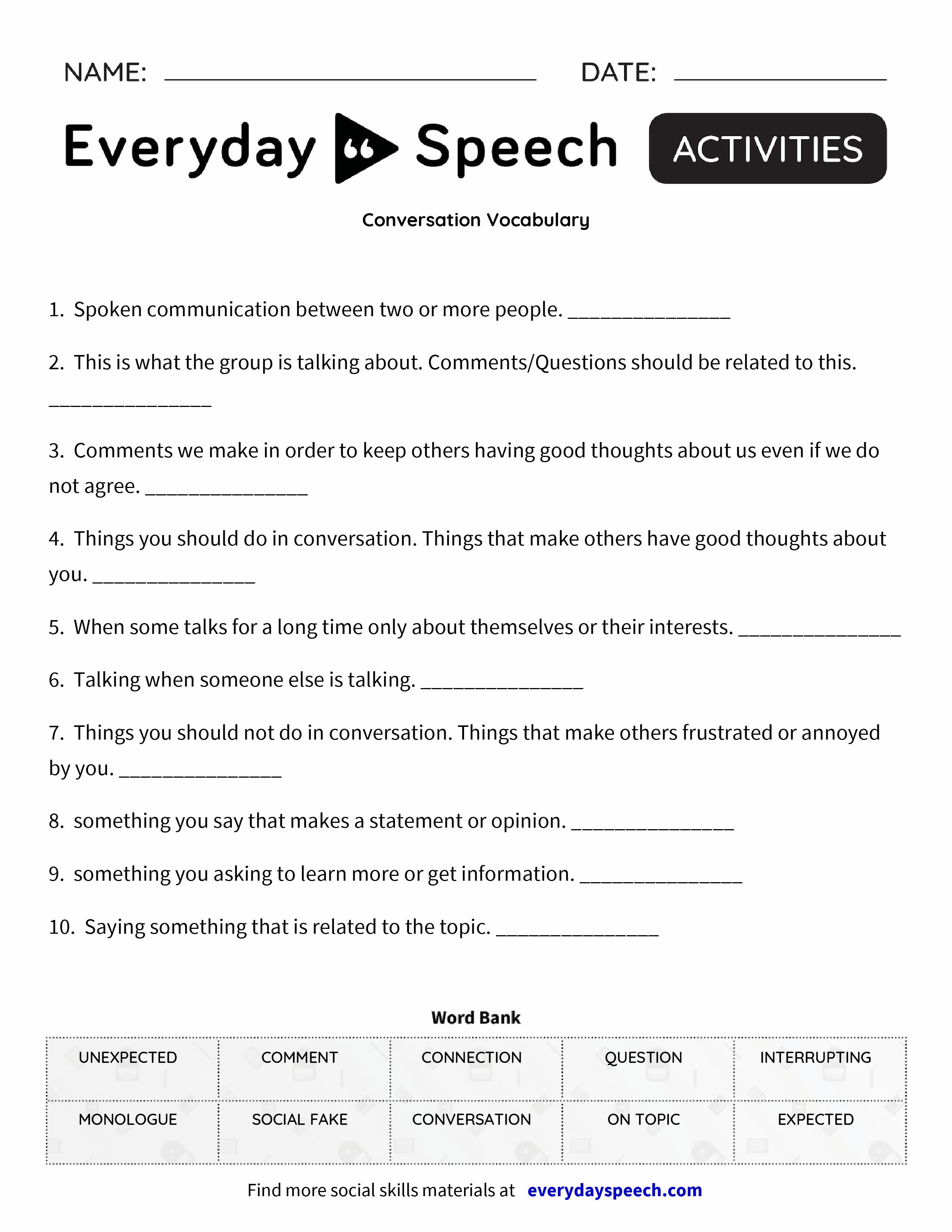 Conversation Vocabulary - Everyday Speech - Everyday Speech