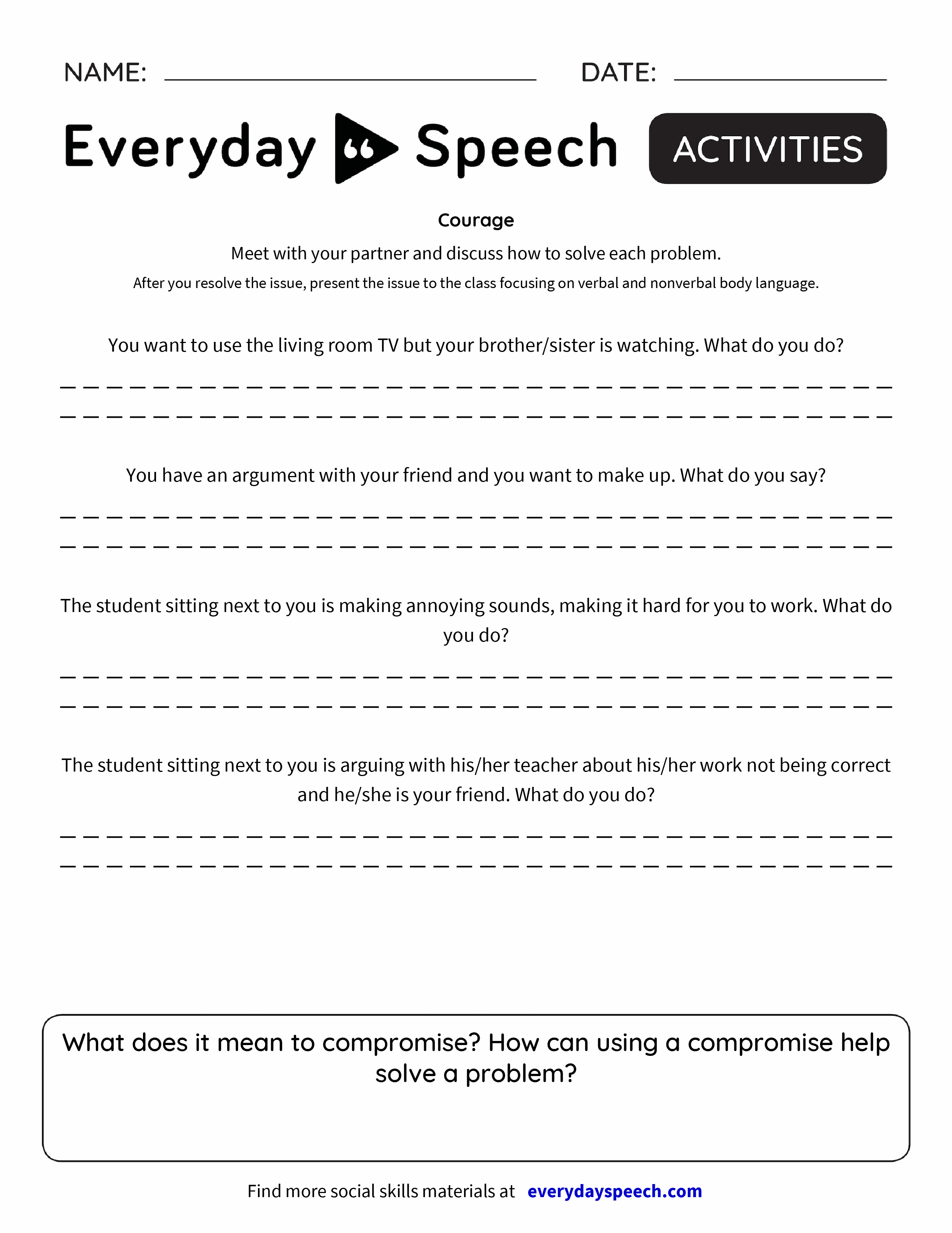 Worksheets Courage Worksheets courage everyday speech preview