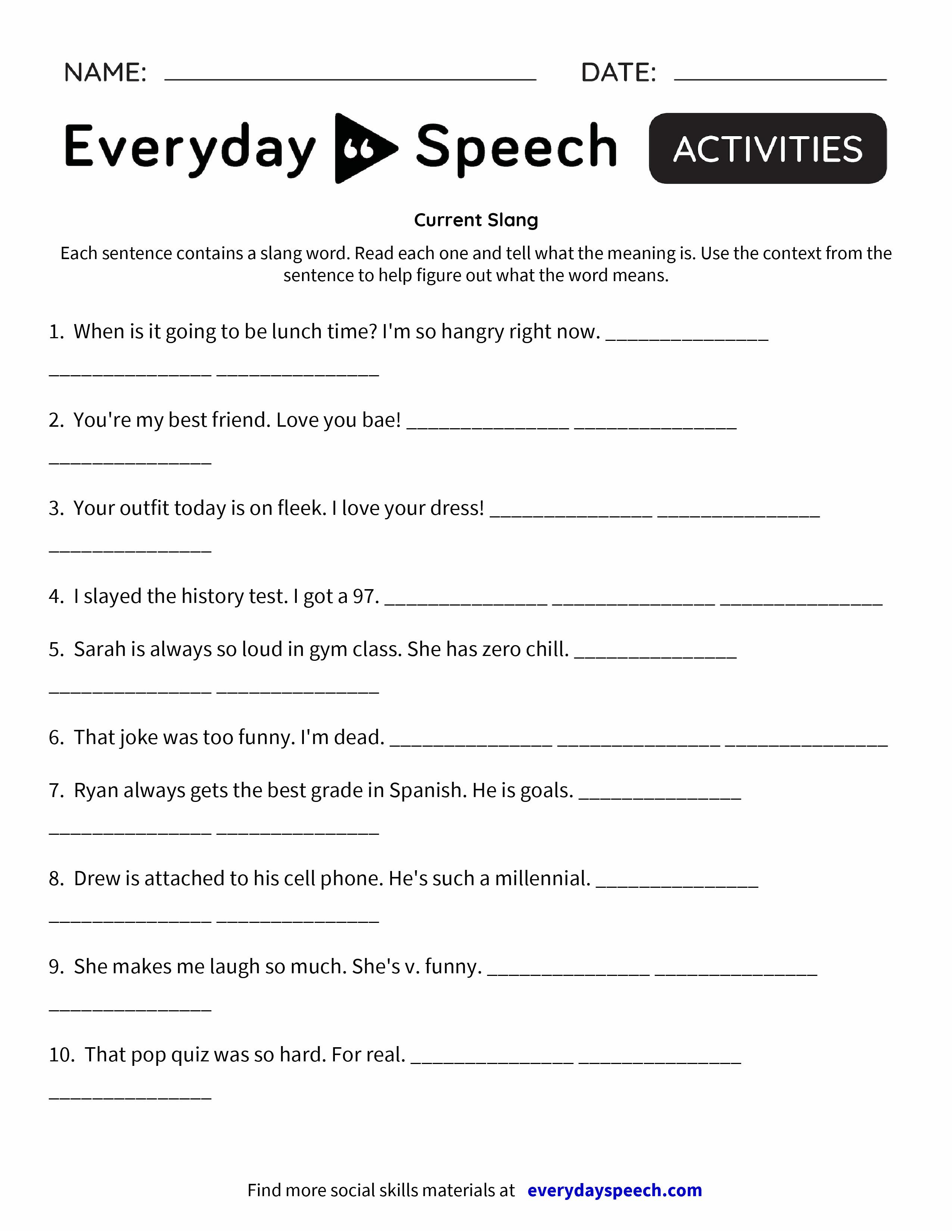 Current Slang - Everyday Speech - Everyday Speech