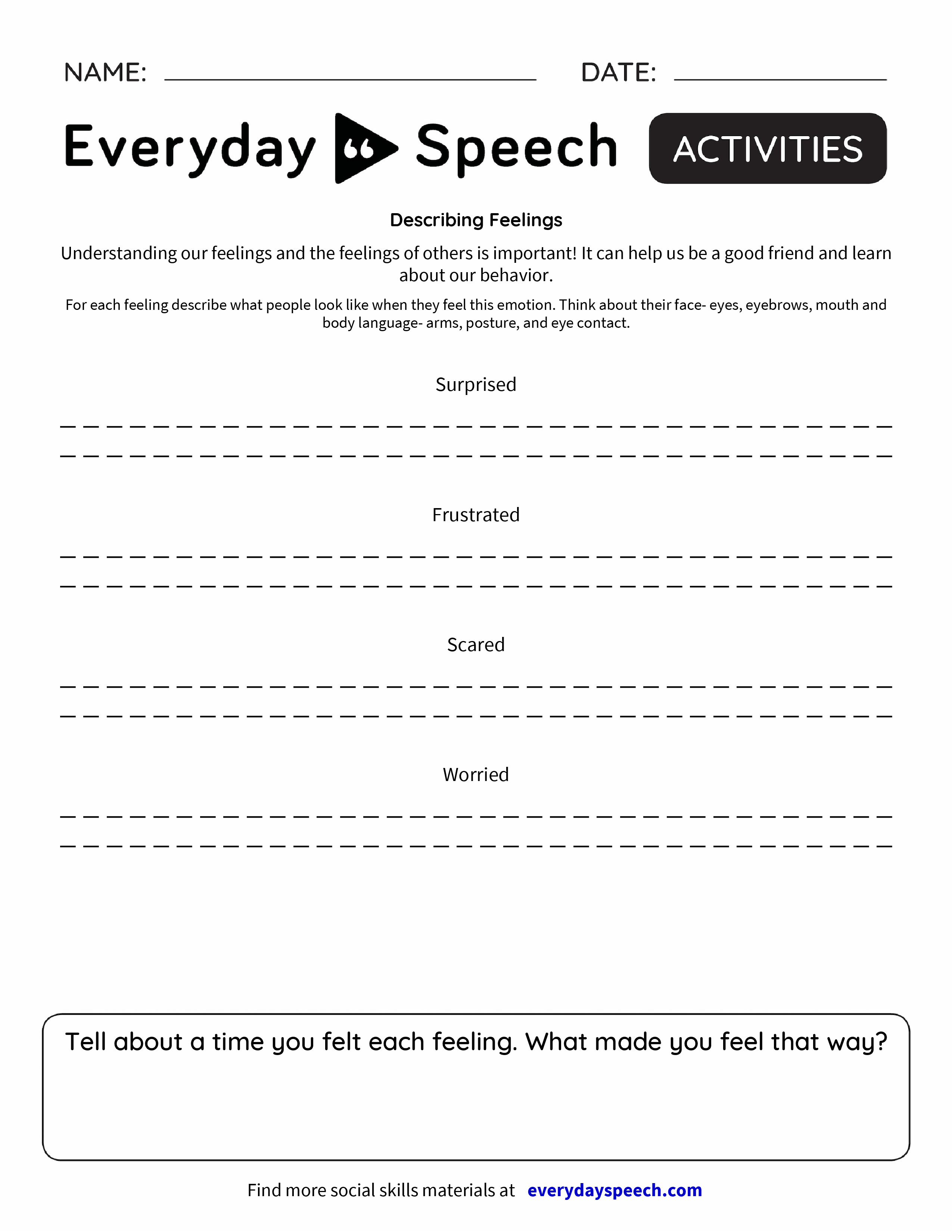 Describing Feelings Everyday Speech Everyday Speech – Feelings Worksheets