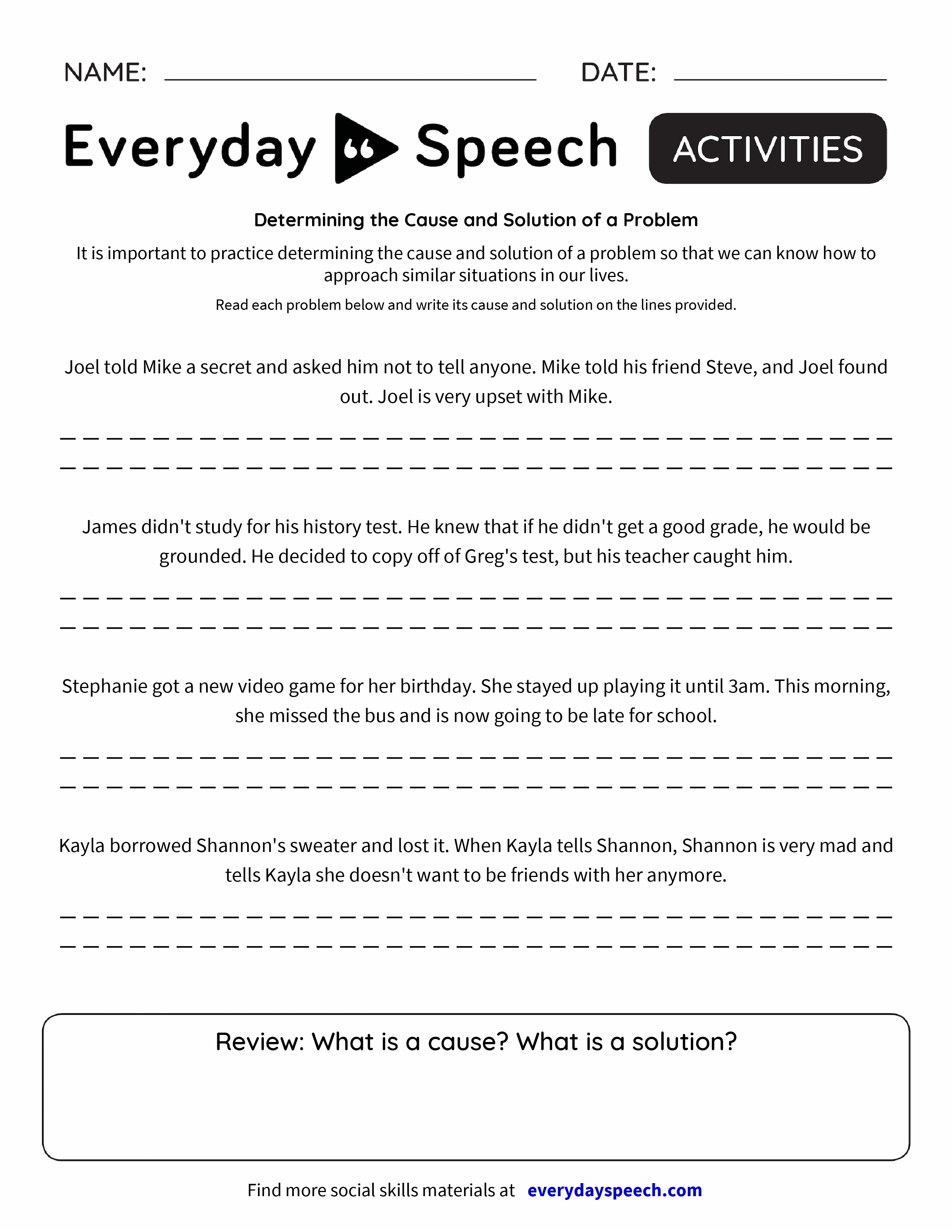 worksheet Problem Solution Worksheets determining the cause and solution of a problem everyday speech problem