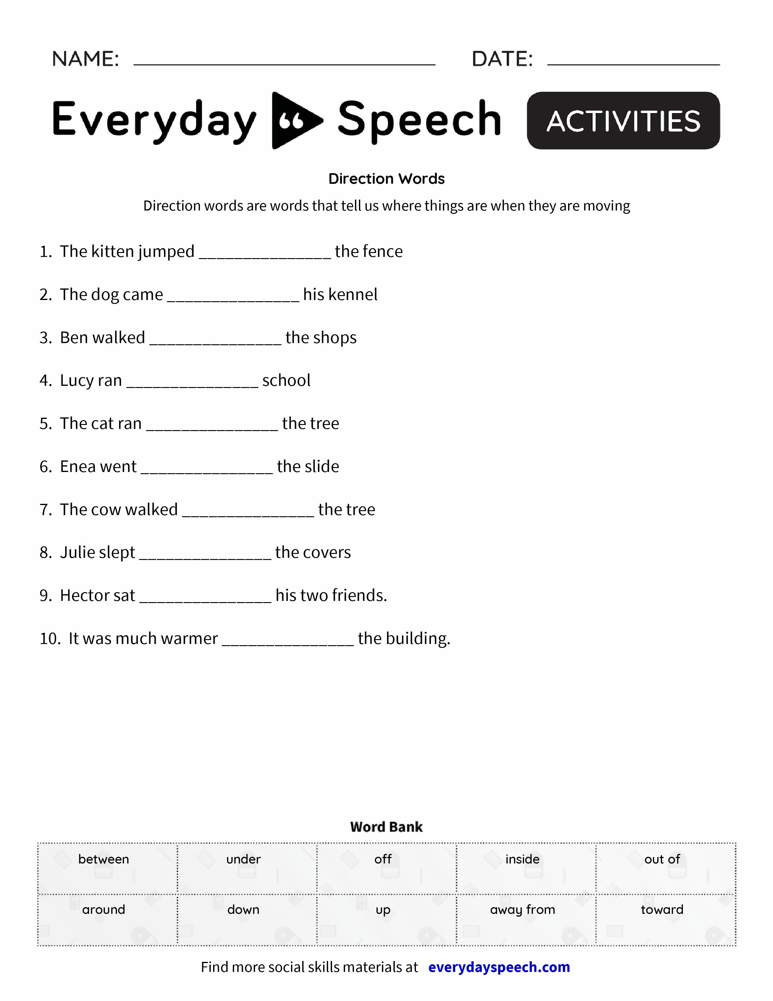 direction words everyday speech everyday speech. Black Bedroom Furniture Sets. Home Design Ideas