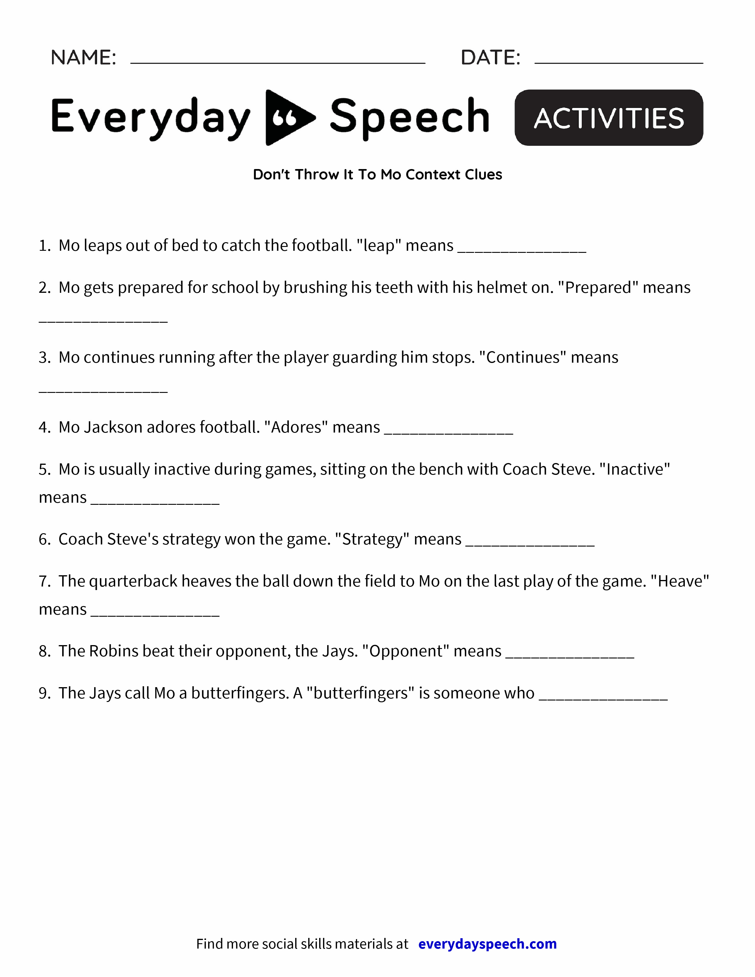 Don't Throw It To Mo Context Clues - Everyday Speech