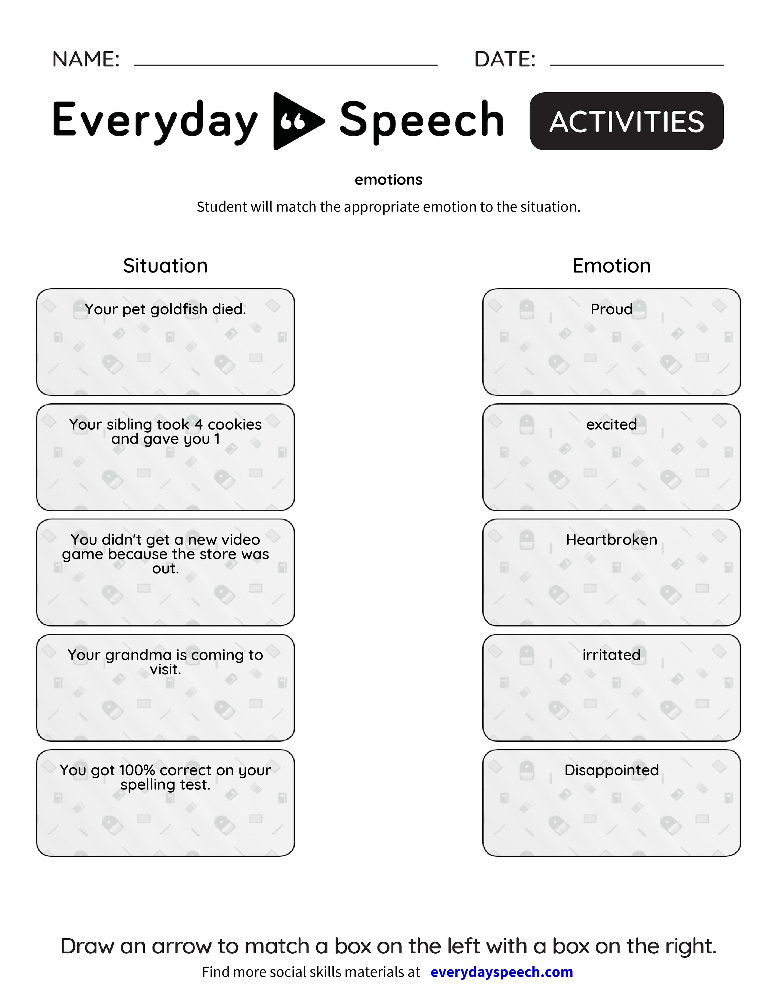 Worksheets Emotions Worksheets emotions everyday speech preview