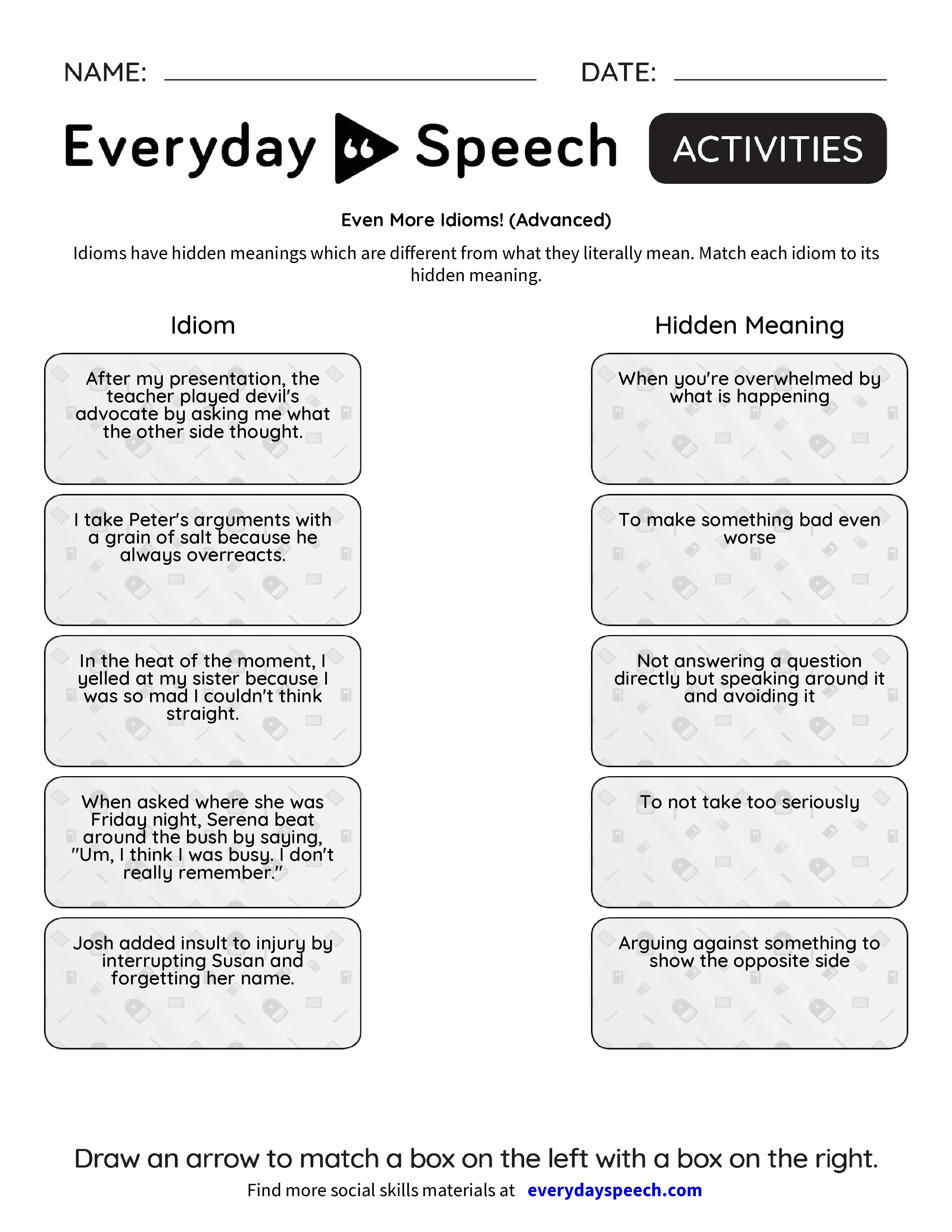 Even More Idioms Advanced Everyday Speech Everyday Speech