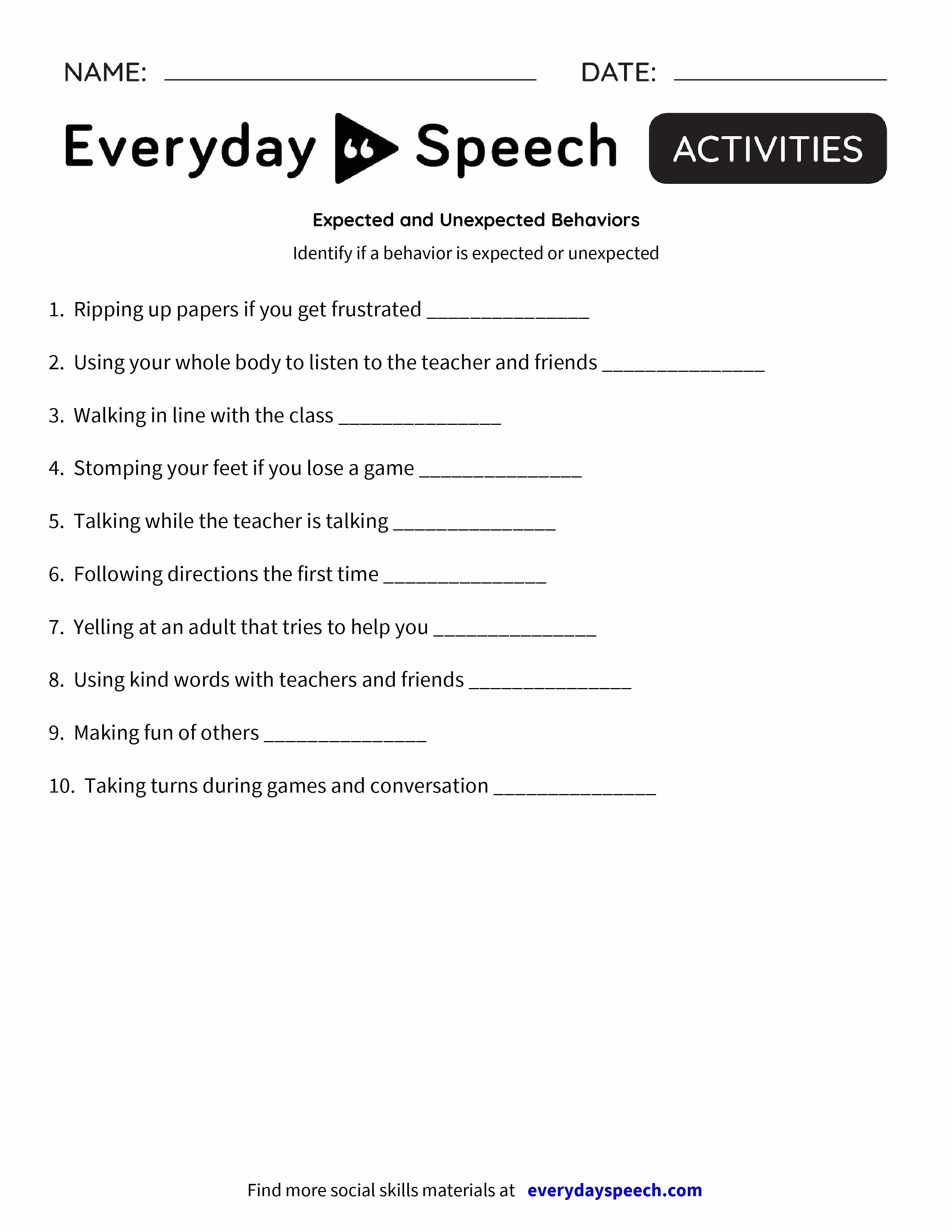 Expected and Unexpected Behaviors Everyday Speech Everyday Speech – Behavior Worksheets