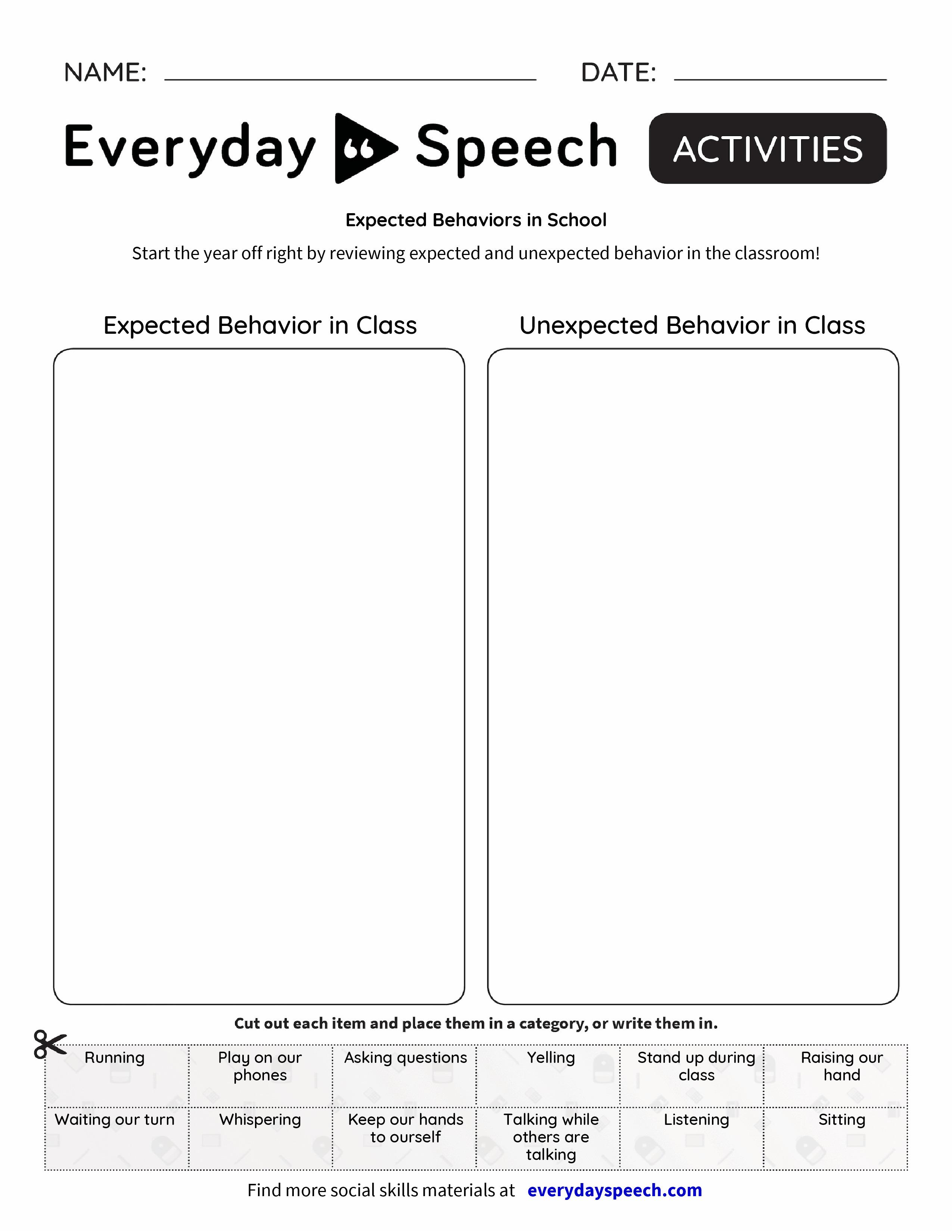 Expected Behaviors in School - Everyday Speech - Everyday Speech
