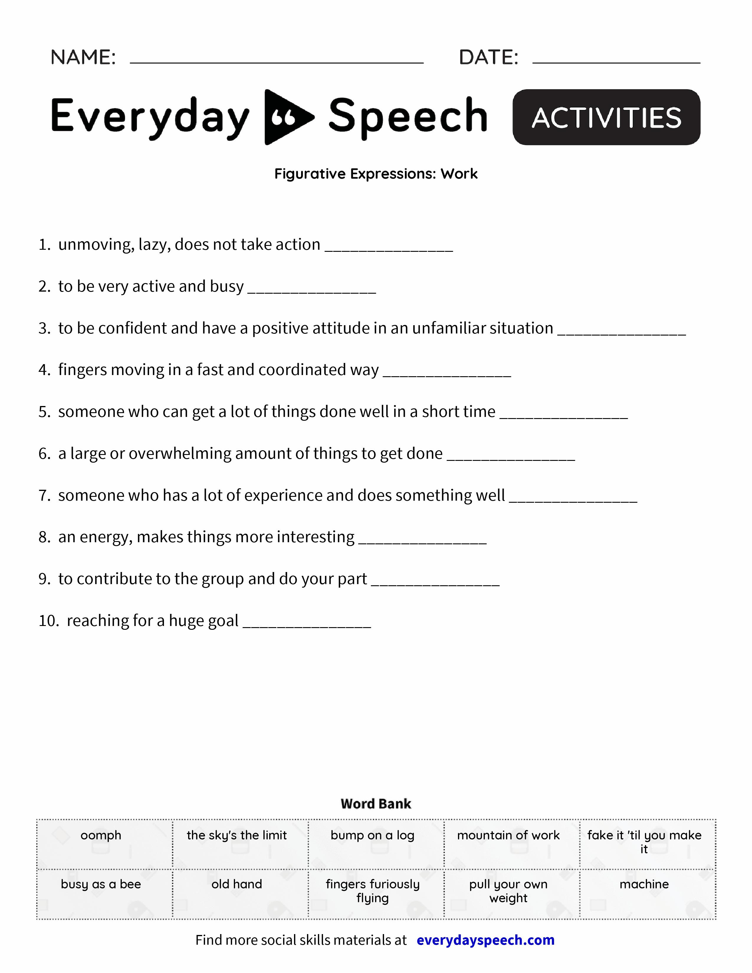 Figurative Expressions Work Everyday Speech Everyday Speech – Work Worksheets