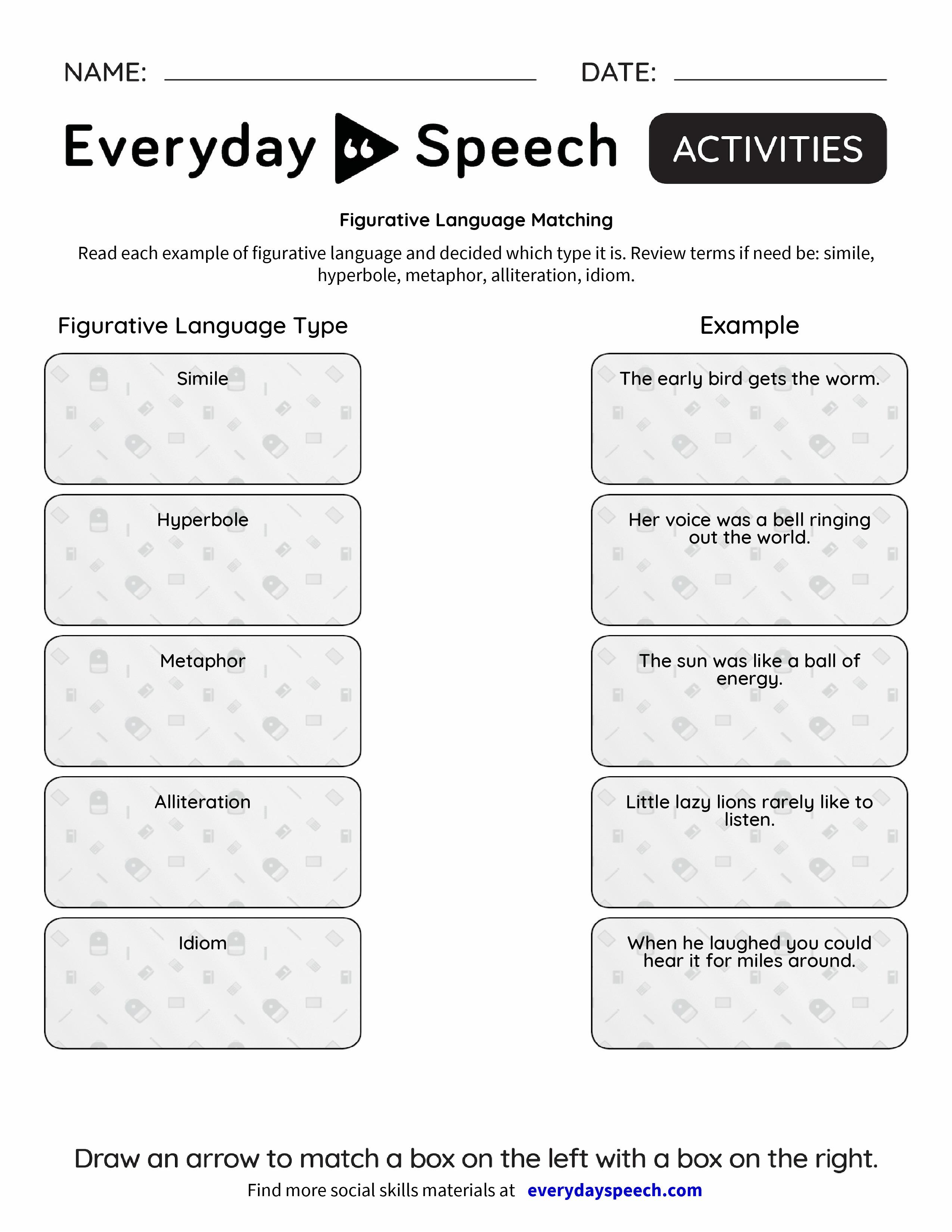 Figurative Language Matching Everyday Speech Everyday Speech – Figurative Language Review Worksheet