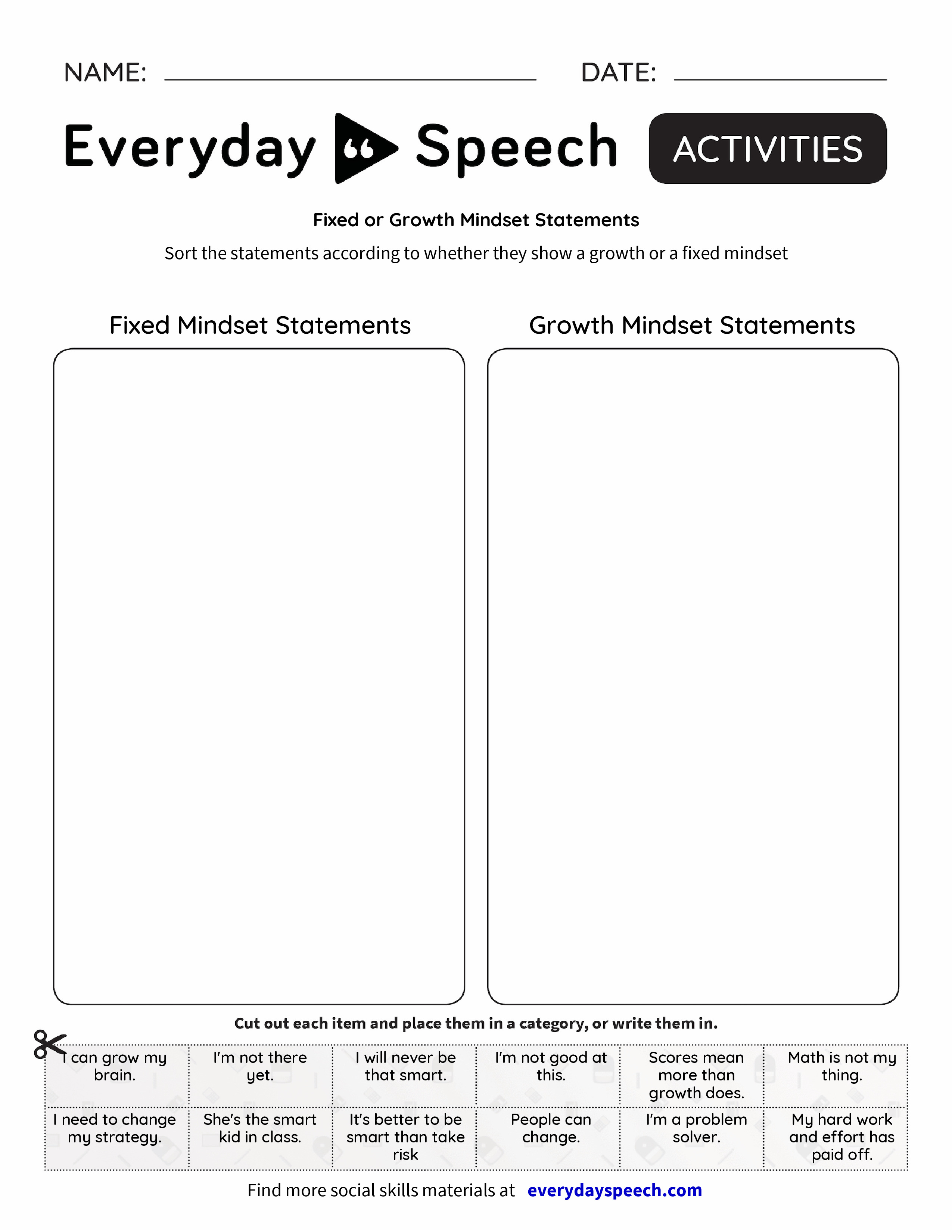 worksheet Growth Mindset Worksheet fixed or growth mindset statements everyday speech preview preview