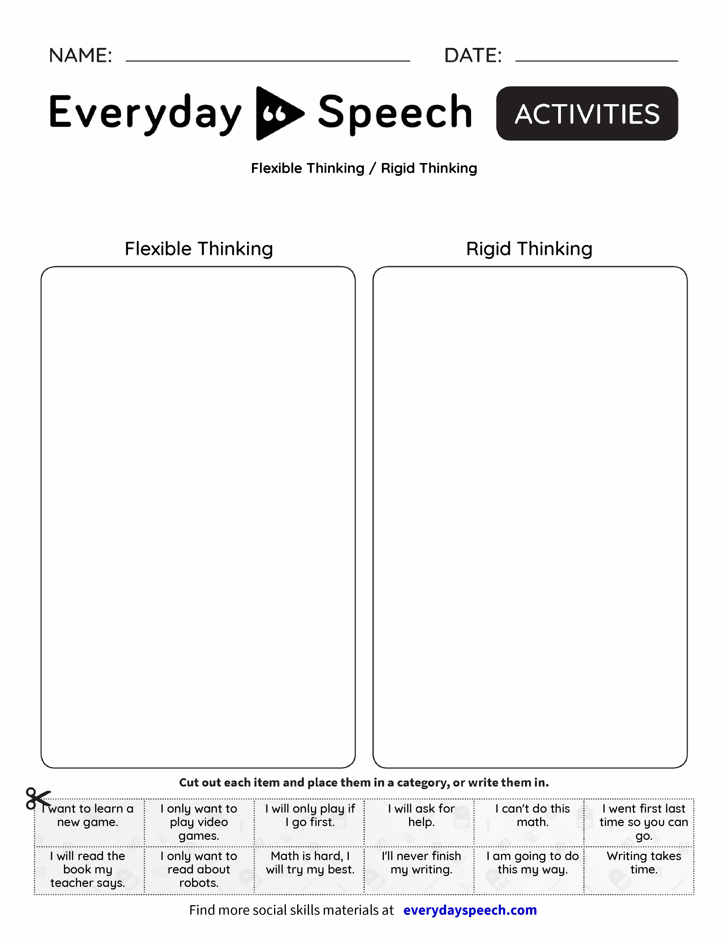 worksheet Social Thinking Worksheets Free flexible thinking rigid everyday speech preview