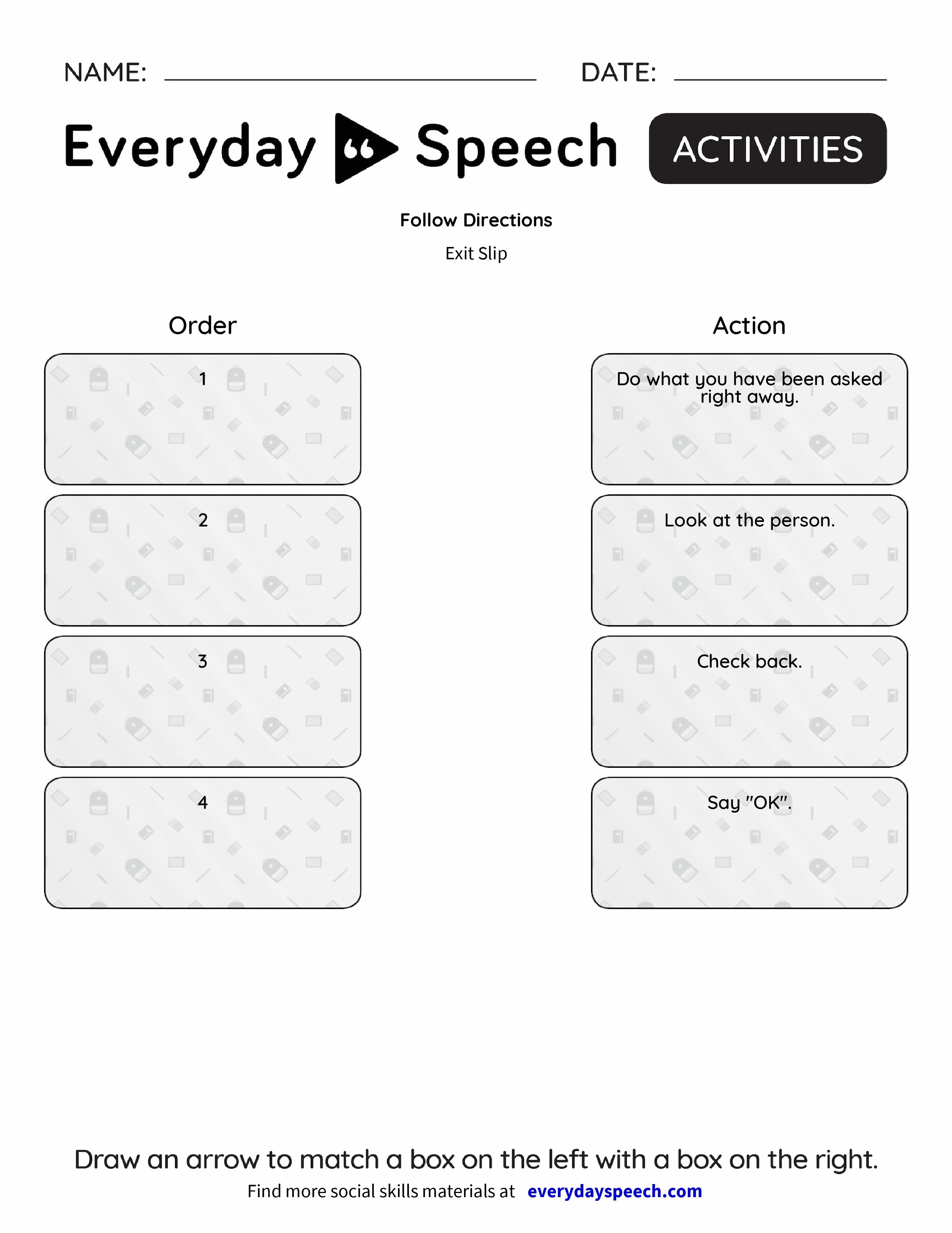 Follow Directions Everyday Speech Everyday Speech