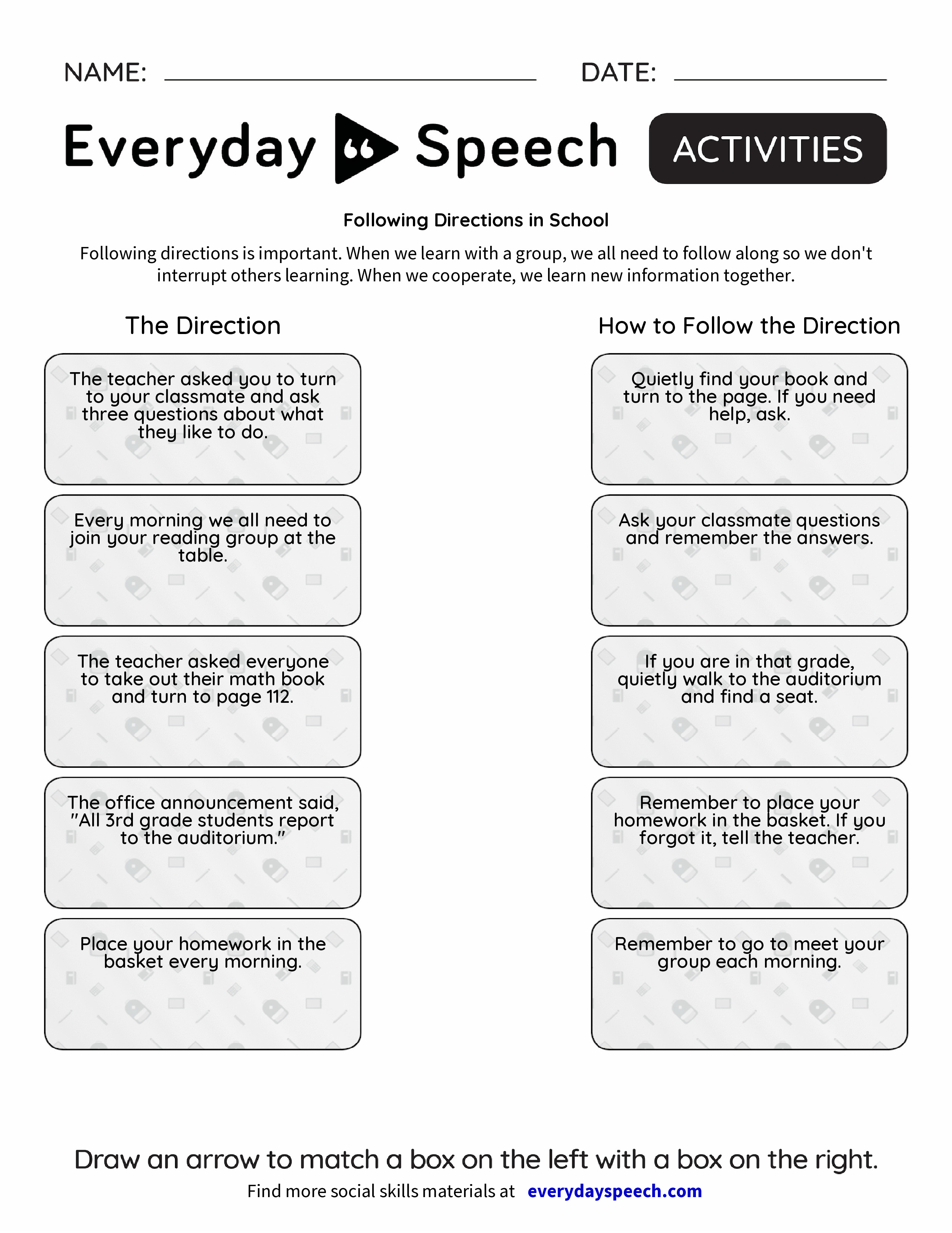 Following Directions in School - Everyday Speech - Everyday